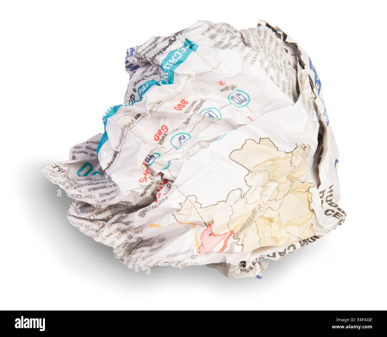 Crumpled Sheet Of Newspaper Isolated On White Background - Stock Image