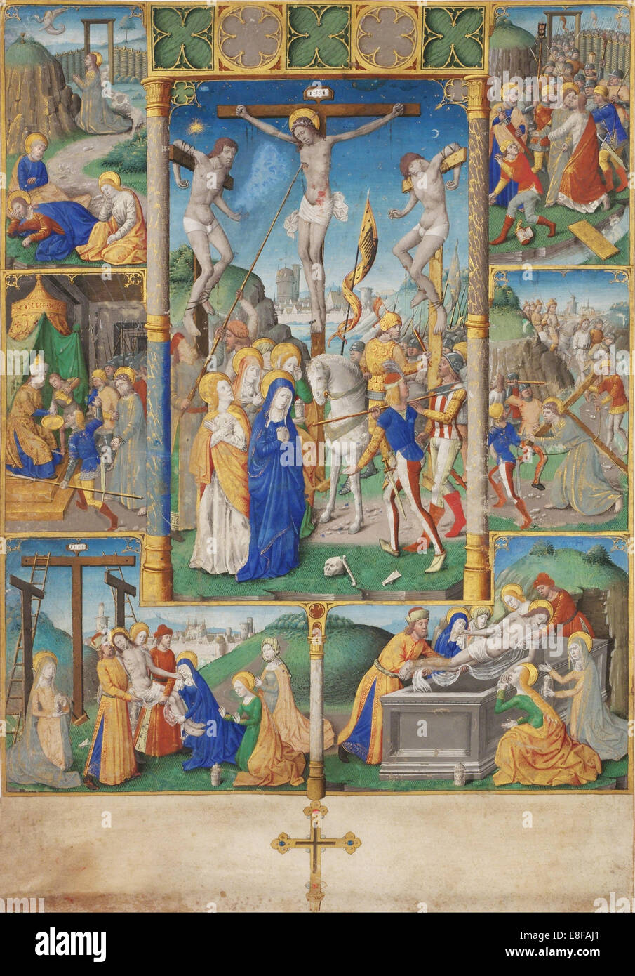 The Crucifixion with Six Scenes from the Passion of Christ. Artist: Master of Jacques de Besançon (active 1480 - Stock Image