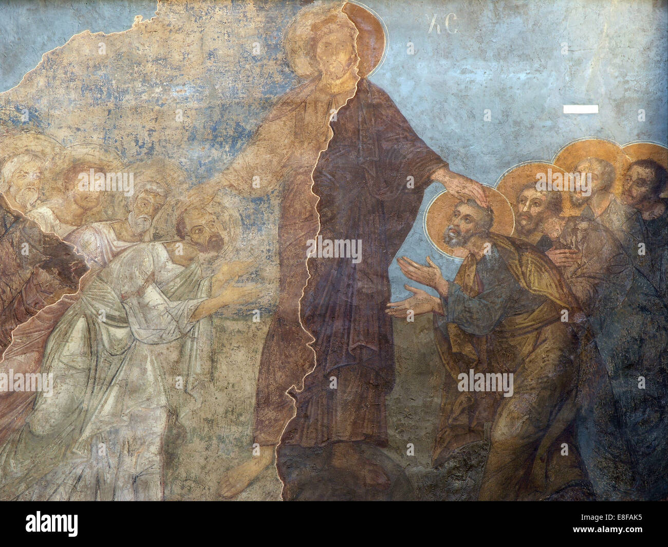 The Pentecost. Artist: Ancient Russian frescos - Stock Image