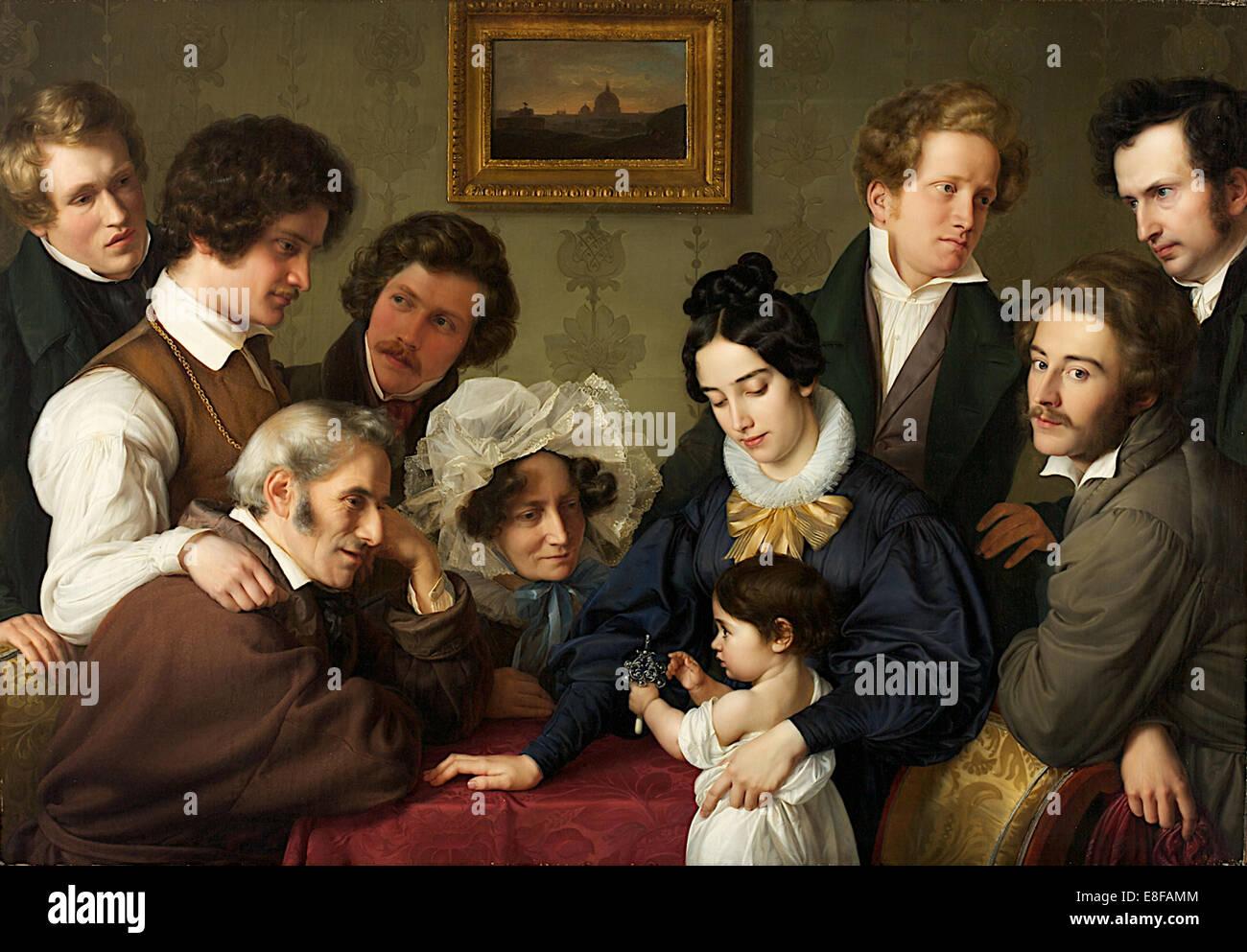 The Schadow Circle. (The Bendemann Family and their Friends). Artist: Bendemann, Eduard (1811-1889) - Stock Image