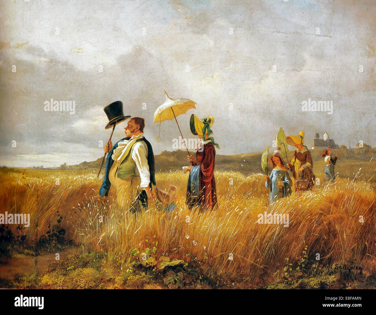 Sunday Stroll. Artist: Spitzweg, Carl (1808-1885) - Stock Image