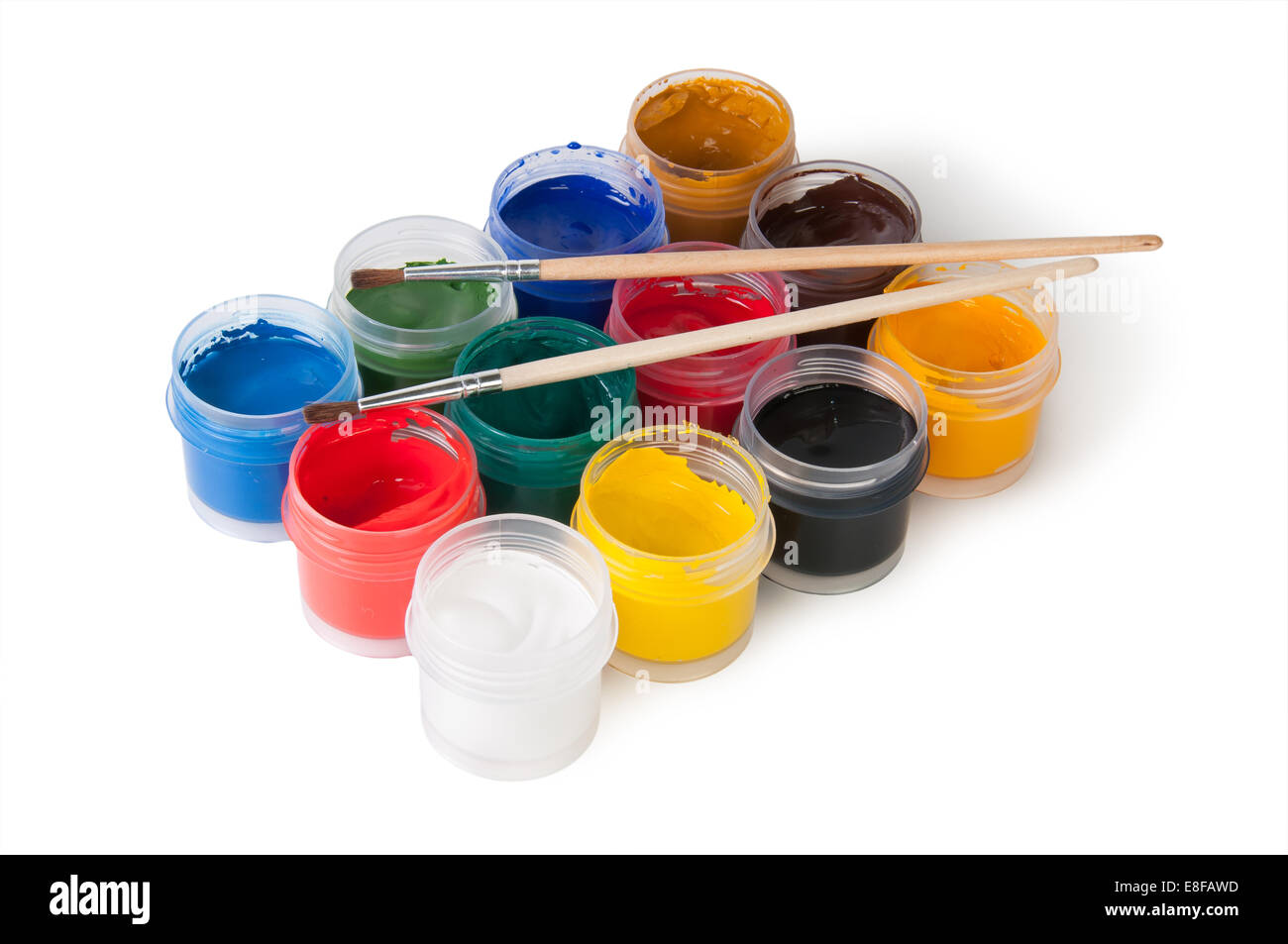 Jars With Gouache And Paint Brushes Isolated On White - Stock Image
