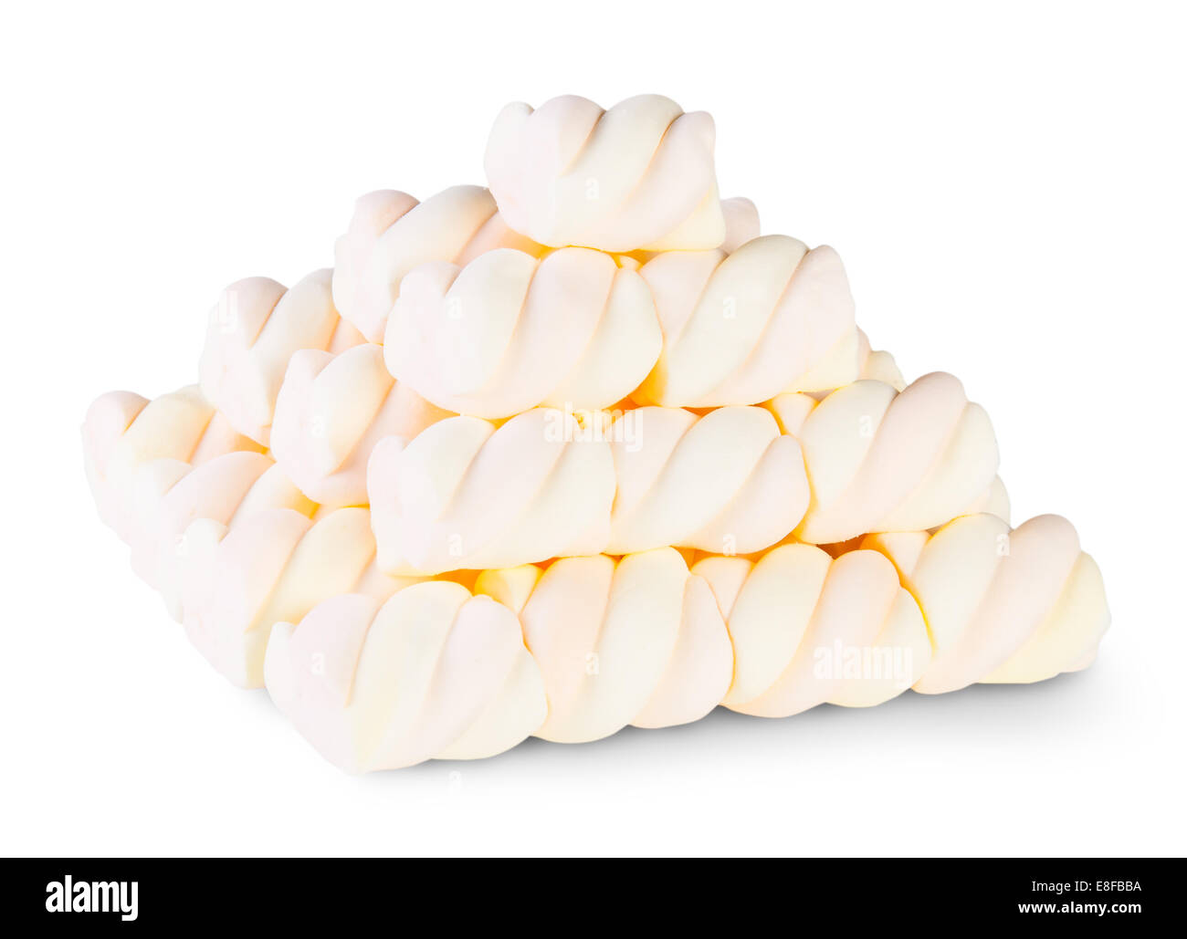 Pyramid The Spiral Marshmallow Isolated On White Background Stock Photo