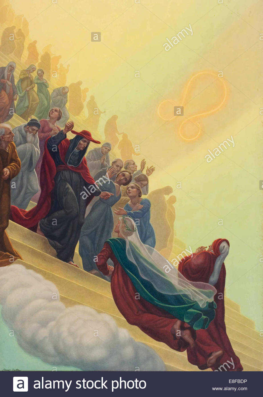Illustration to the Divine Comedy by Dante Alighieri (Paradiso canto XXI). Artist: Nattini, Amos (1892-1985) - Stock Image