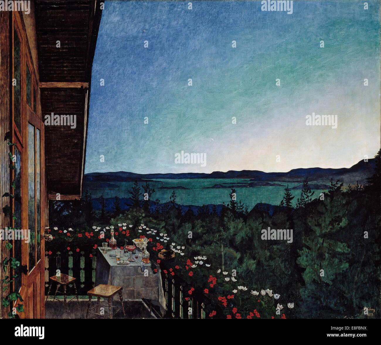 Summer Night. Artist: Sohlberg, Harald (1869-1935) - Stock Image