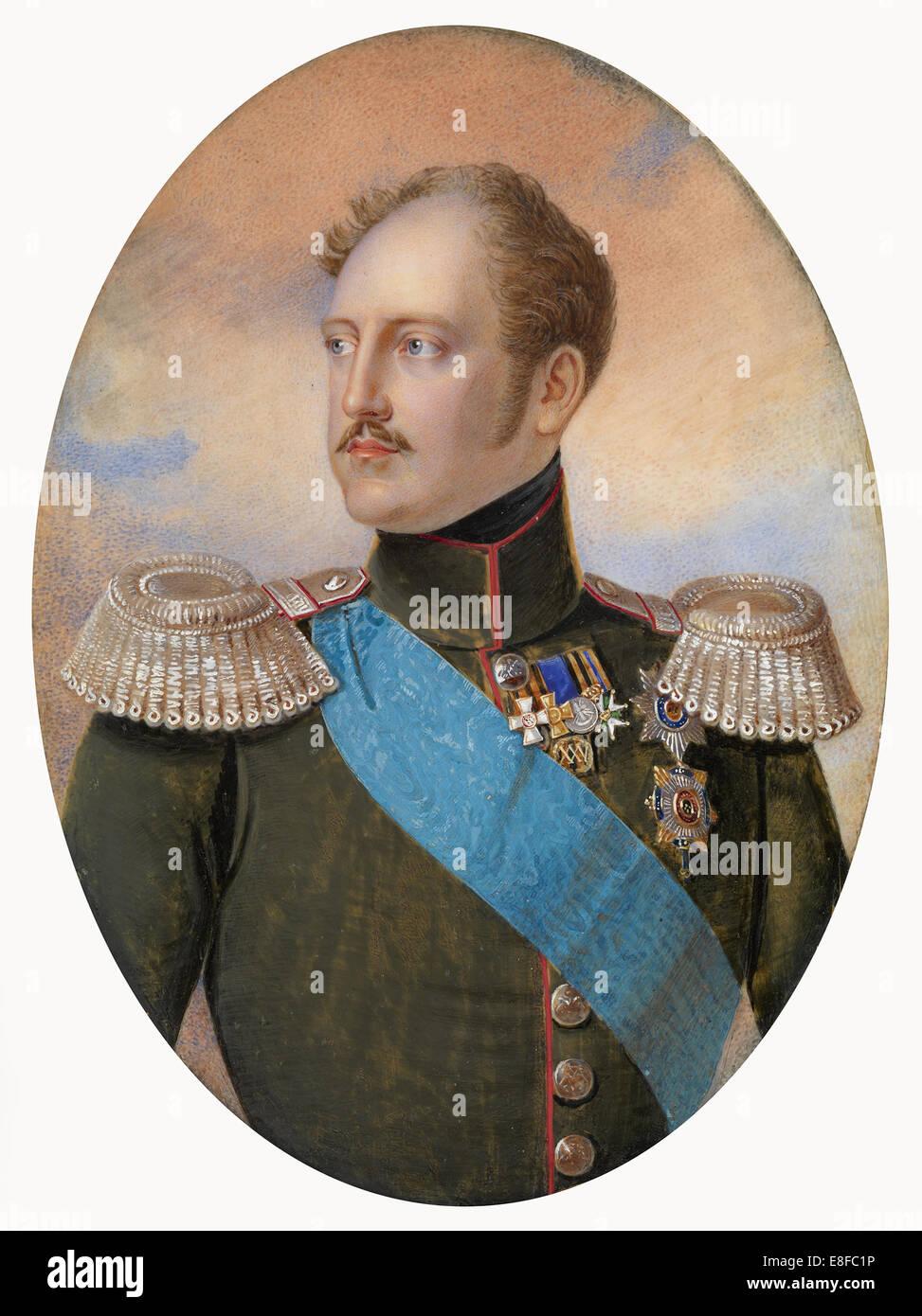 Portrait of Emperor Nicholas I  (1796-1855). Artist: Winberg, Ivan Andreyevich (?-1851) - Stock Image