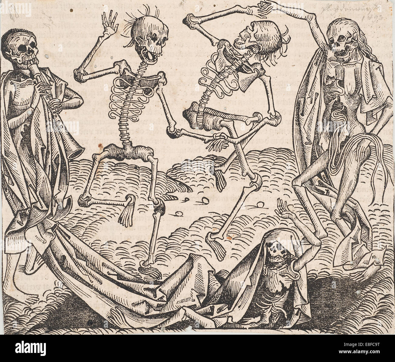 Dance of Death (from the Schedel's Chronicle of the World). Artist: Wolgemut, Michael (1434-1519) - Stock Image