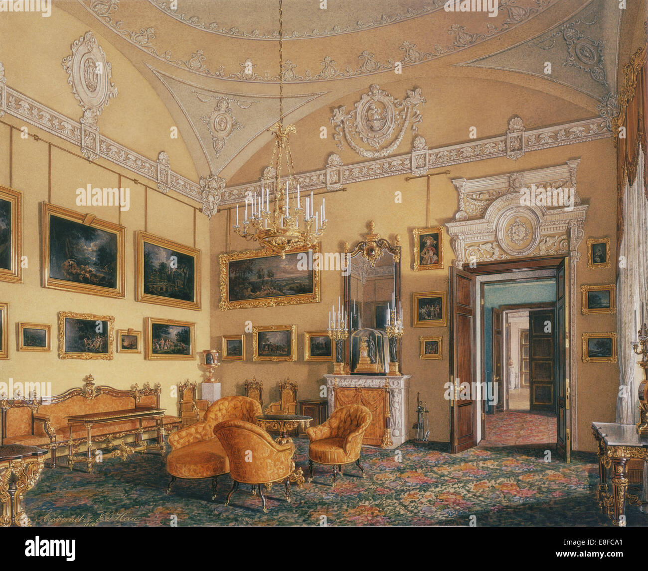 Interiors of the Winter Palace. The First Reserved Apartment. The Drawing-Room of Duke Maximilian Le Artist: Hau, - Stock Image