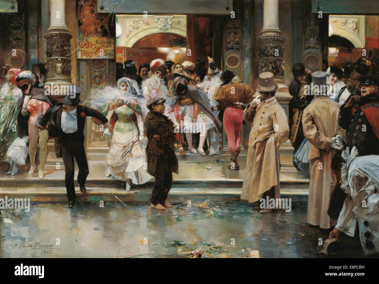 Leaving the Masqued Ball. Artist: García y Ramos, José (1852-1912) - Stock Image