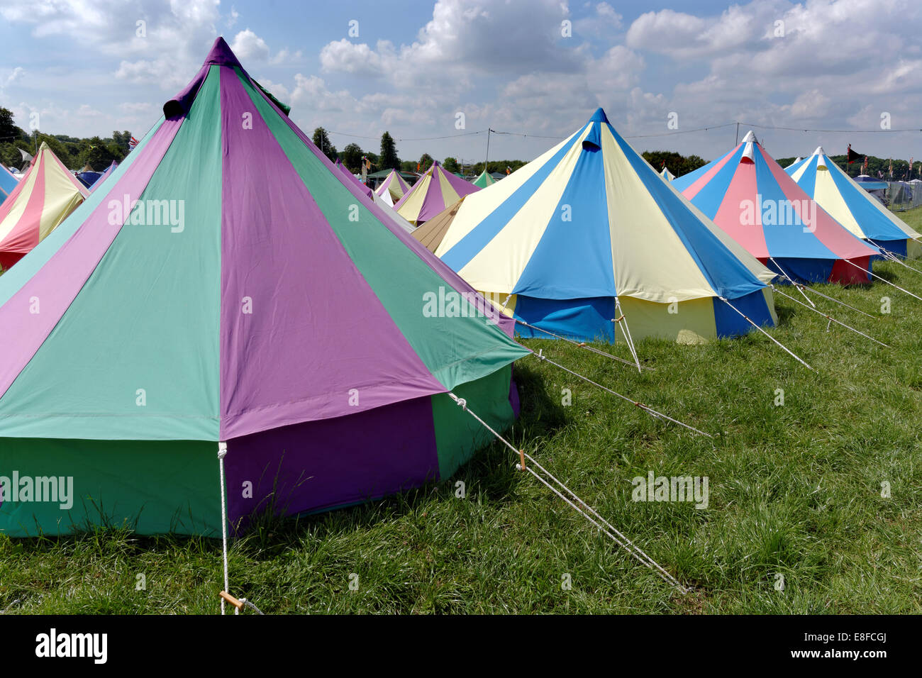 Glamping Colorful Tents WOMAD 2014, Charlton Park, Malmesbury,  Wiltshire,   England, UK, GB. - Stock Image