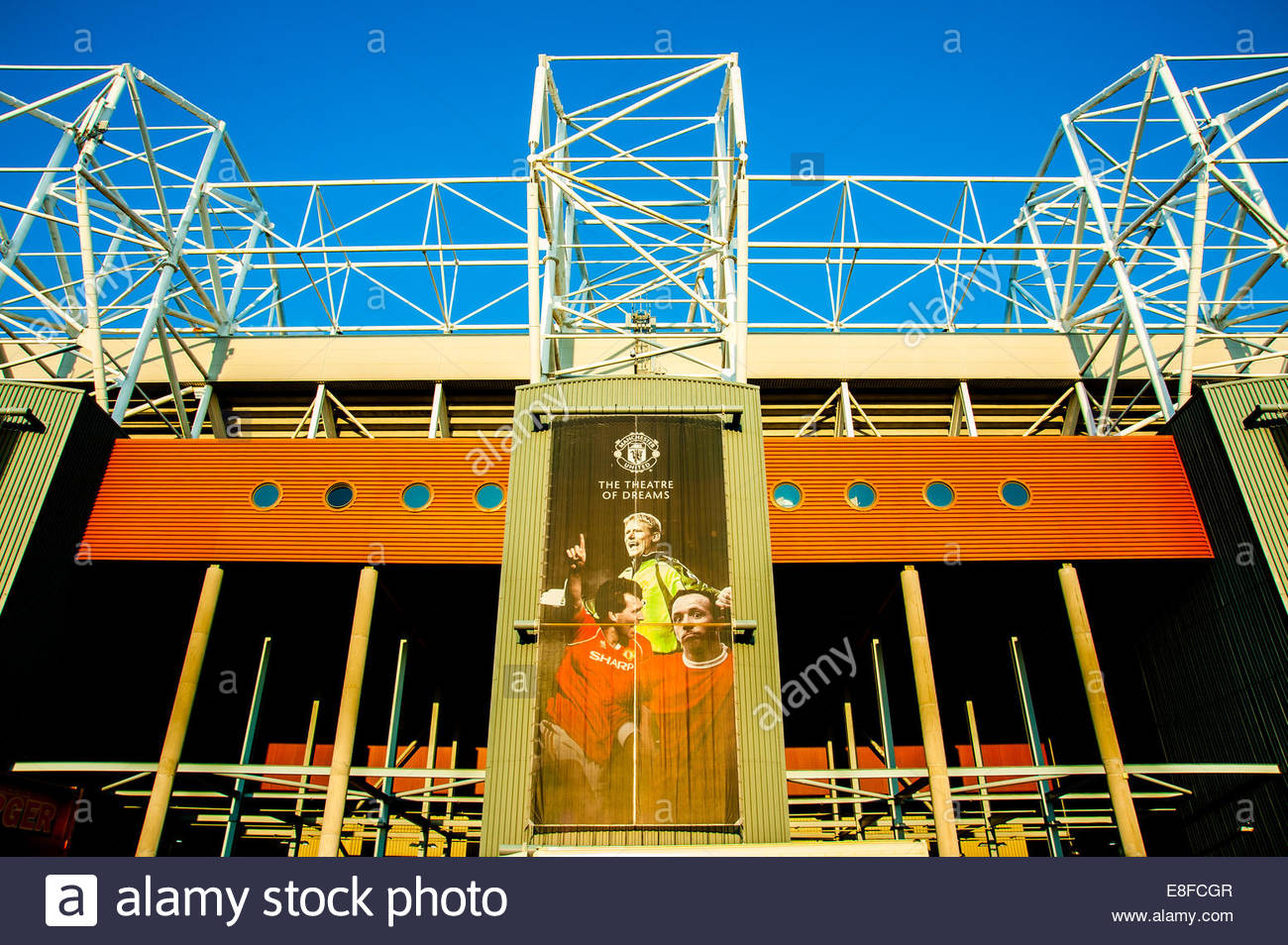 View of The West Stand, or Stretford End of Manchester United Football Club's ground, Old Trafford, showing - Stock Image