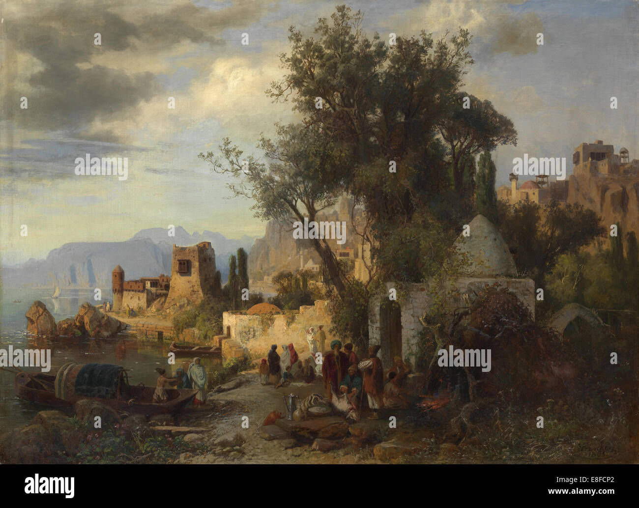 Evening by the Kura River near Tiflis. Artist: Franken, Paul von (1818-1884)Stock Photo