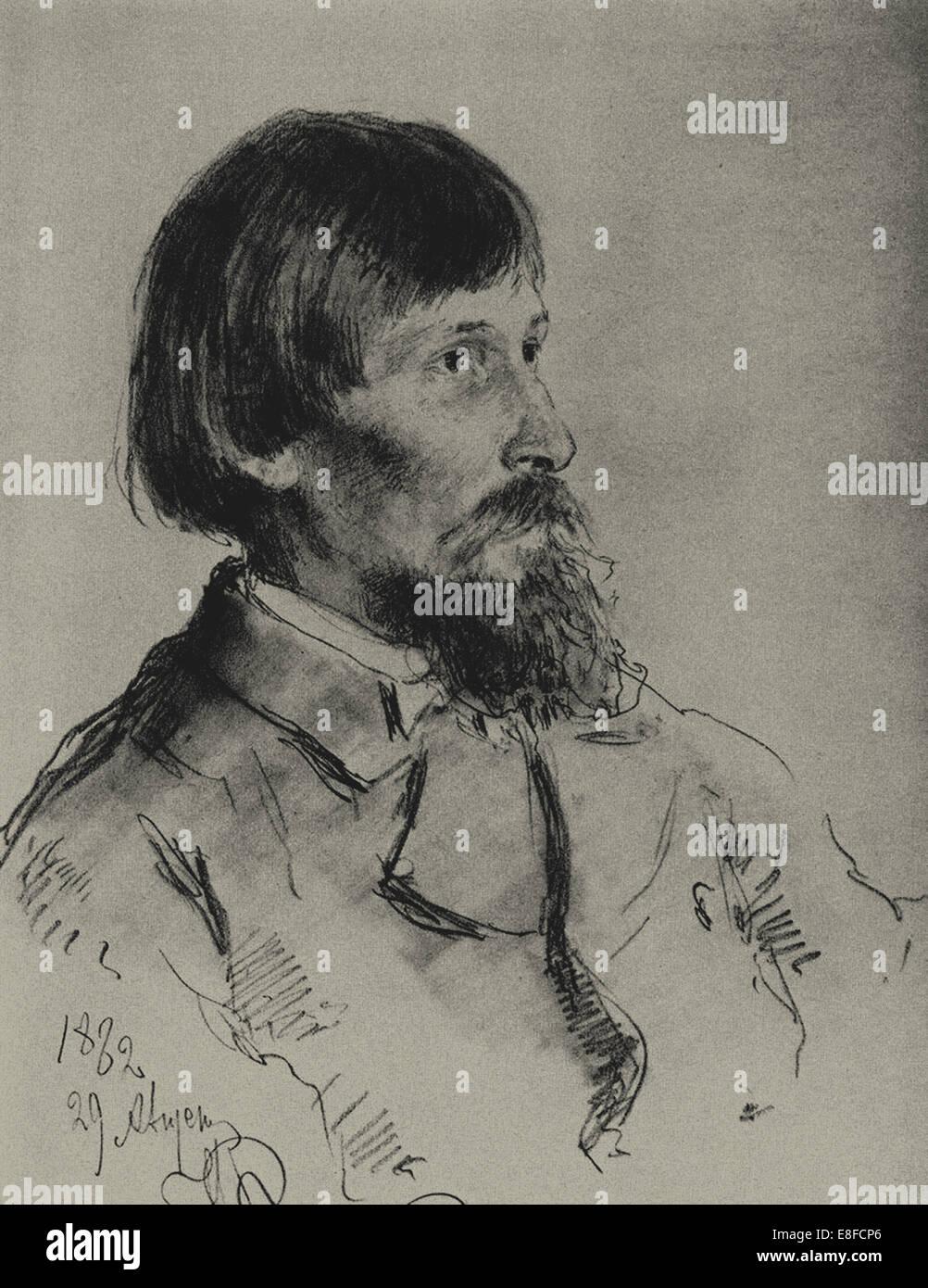 Portrait of the artist Viktor Vasnetsov (1848-1926). Artist: Repin, Ilya Yefimovich (1844-1930) - Stock Image