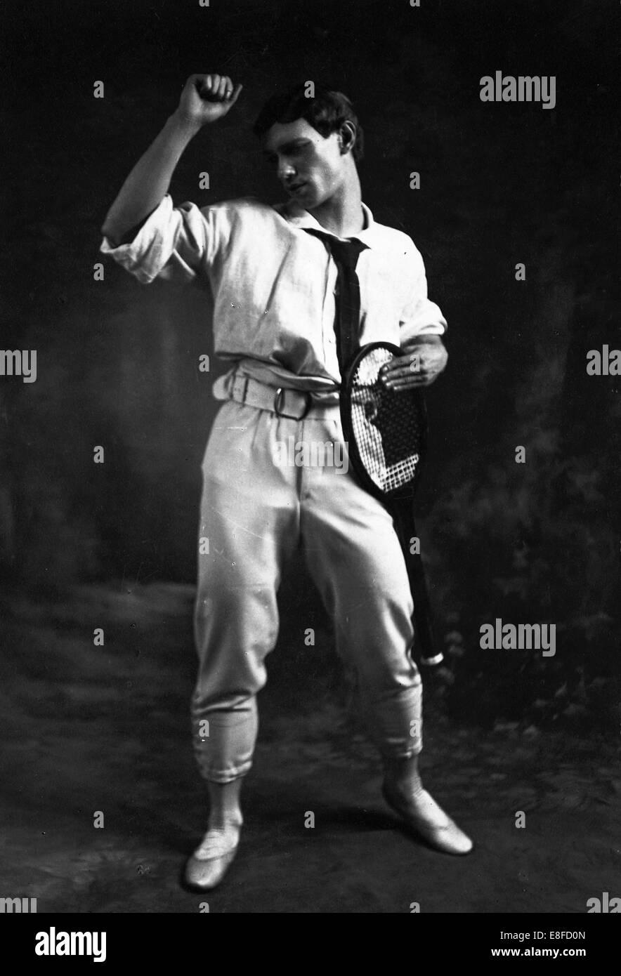 Vaslav Nijinsky in the Ballet Jeux by Claude Debussy. Artist: Gerschel, Charles (1871-1948) - Stock Image