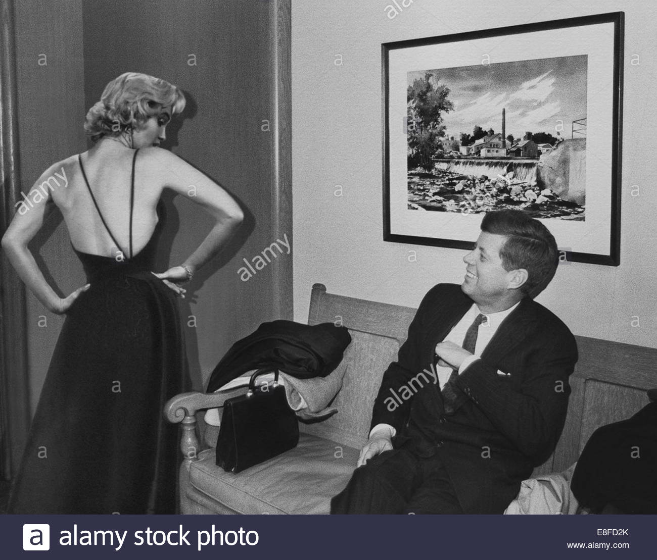 John F. Kennedy and Marilyn Monroe. Artist: Anonymous - Stock Image