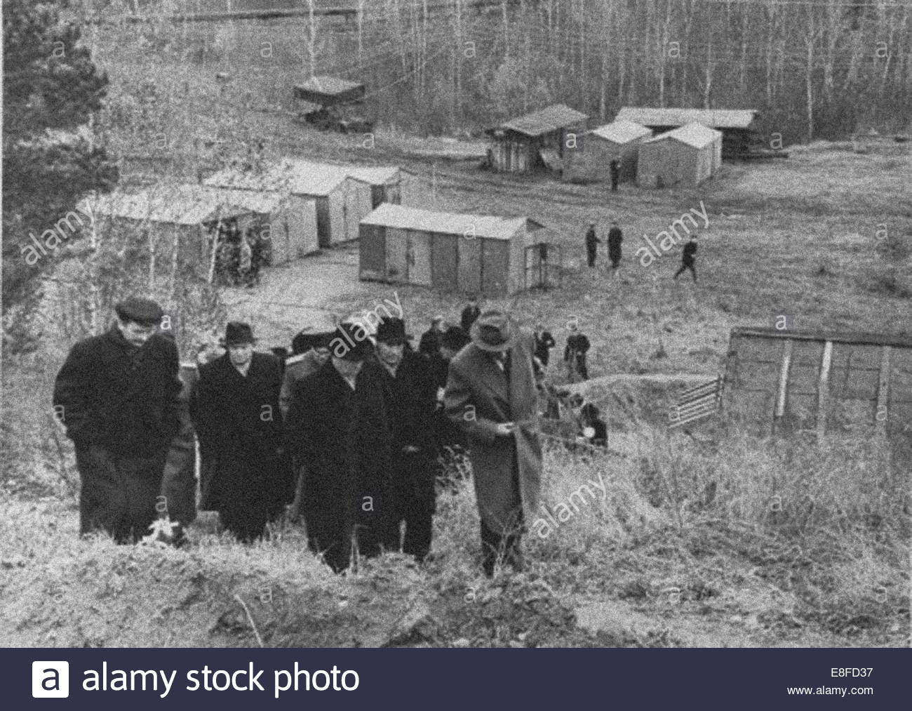 Nikita Khrushchev at the Construction of the Akademgorodok of Novosibirsk. Artist: Anonymous - Stock Image