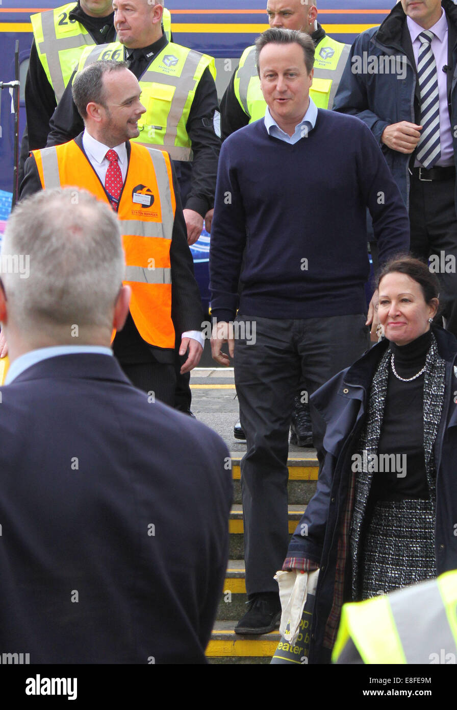 Prime Minister David Cameron visits Dawlish train station for the grand re-opening after the station was closed - Stock Image