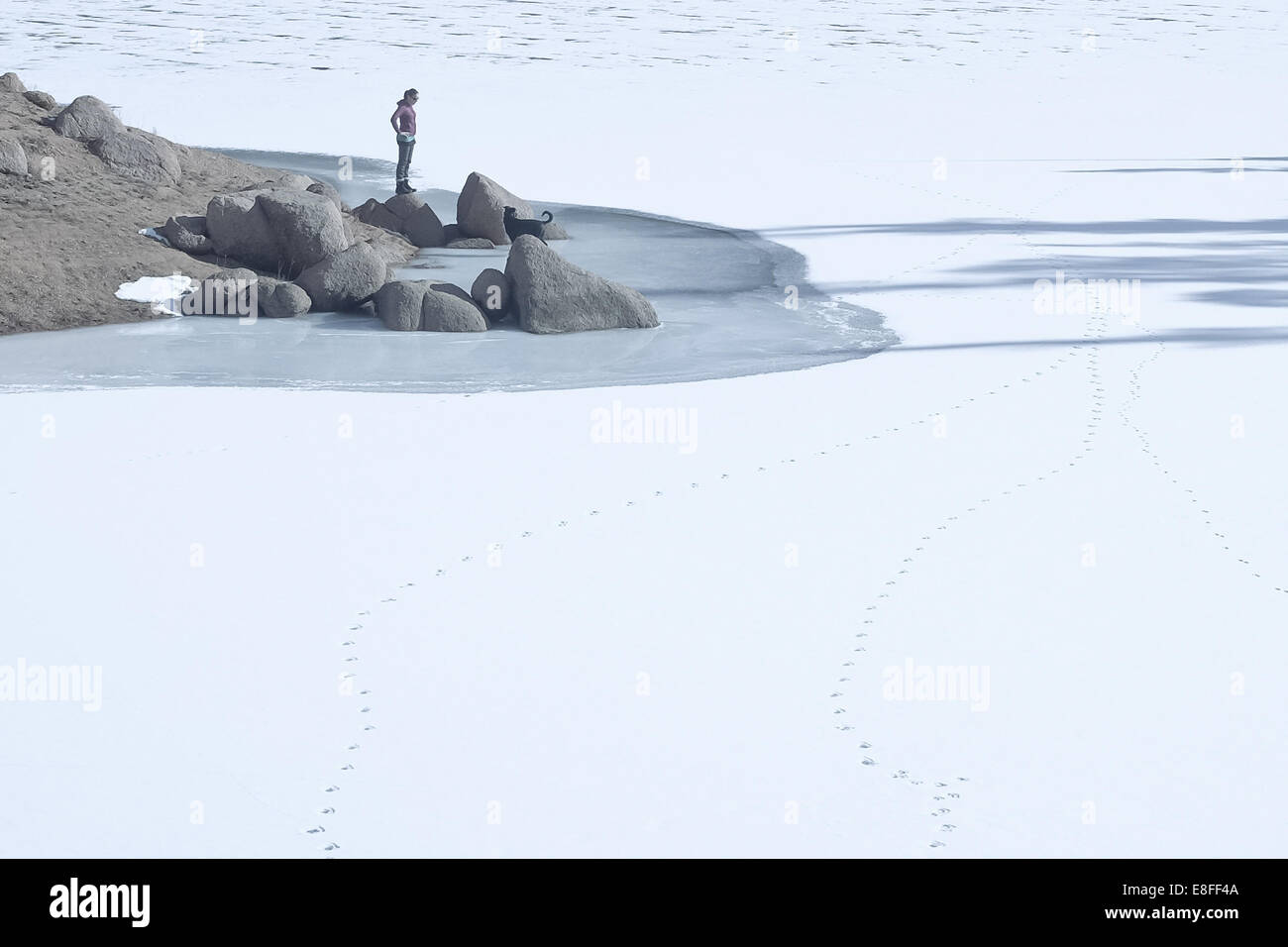 Woman with dog standing by  frozen lake, Colorado, America, USA - Stock Image