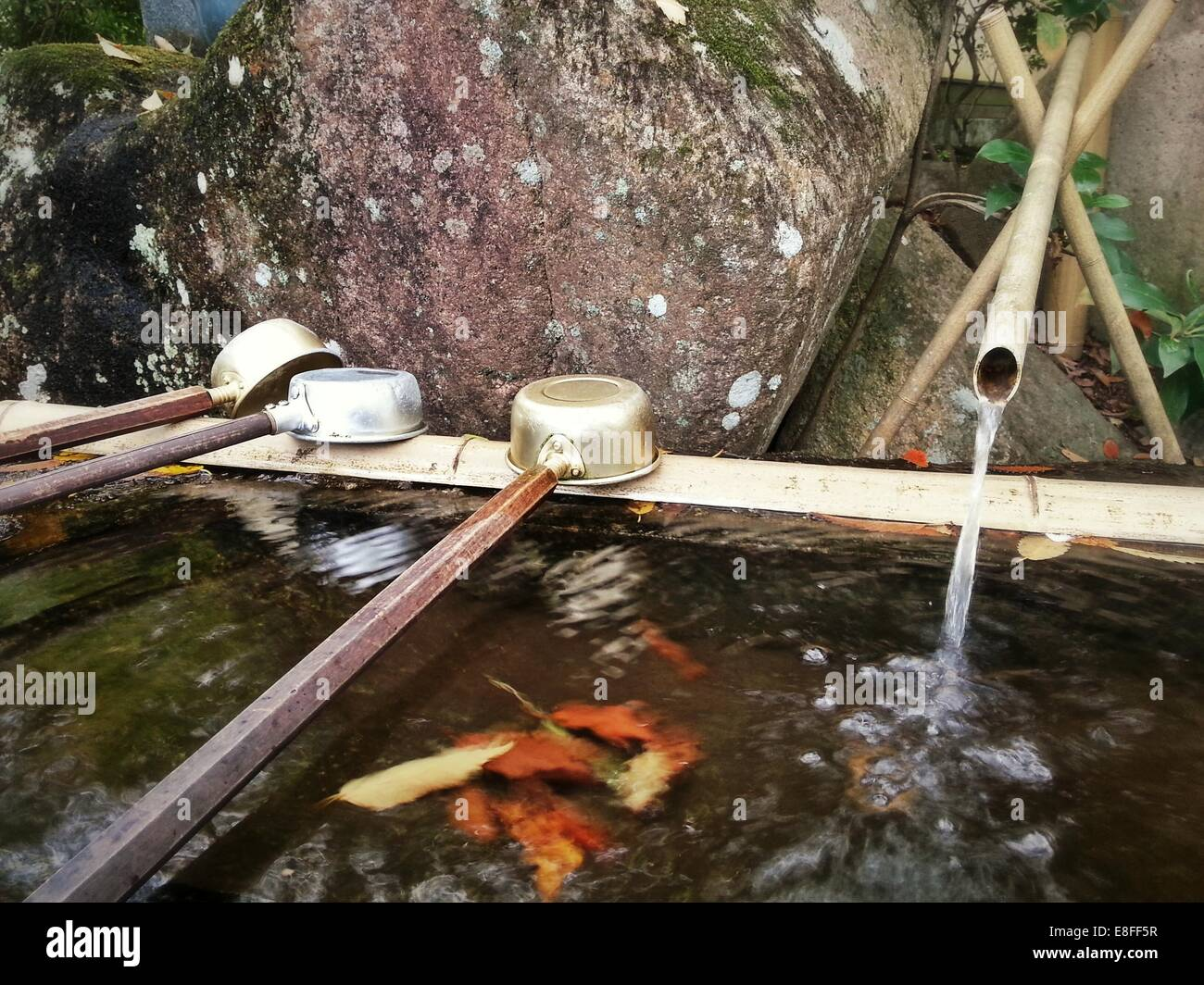 Water well at Japanese shrine - Stock Image