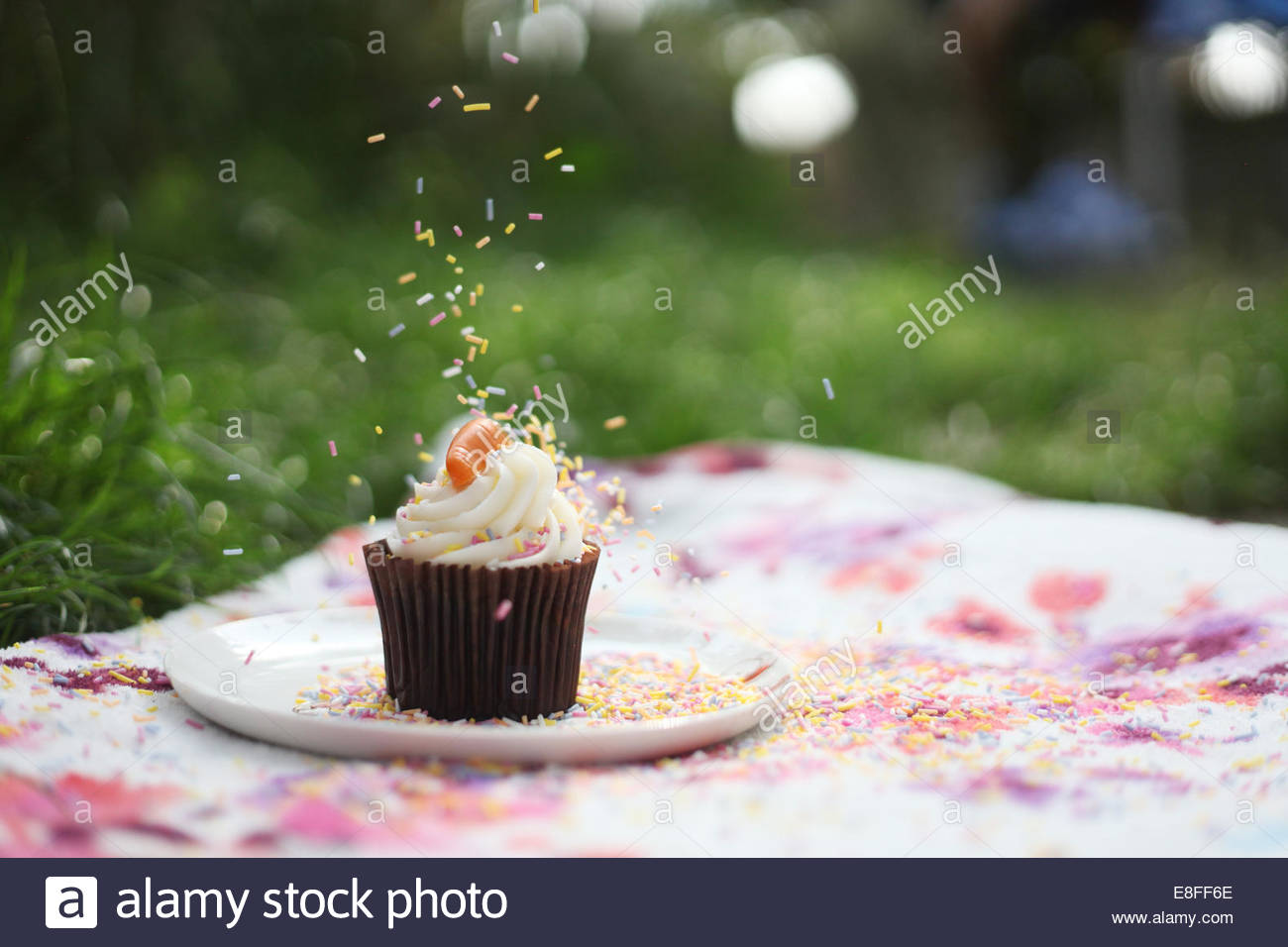 Sprinkling sprinkles on cupcake at picnic - Stock Image