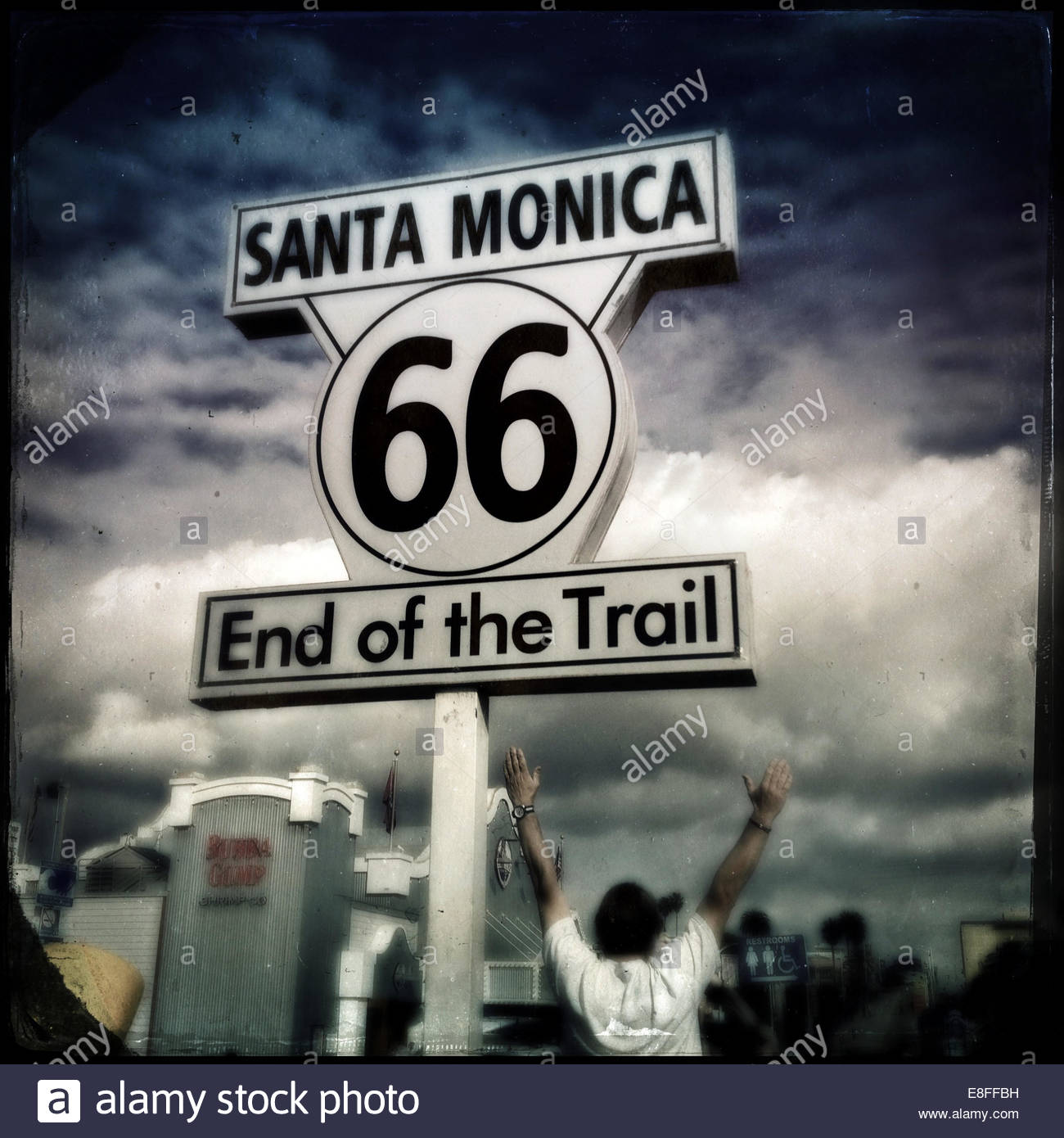 USA, California, Santa Monica, Route 66, End of Trail - Stock Image