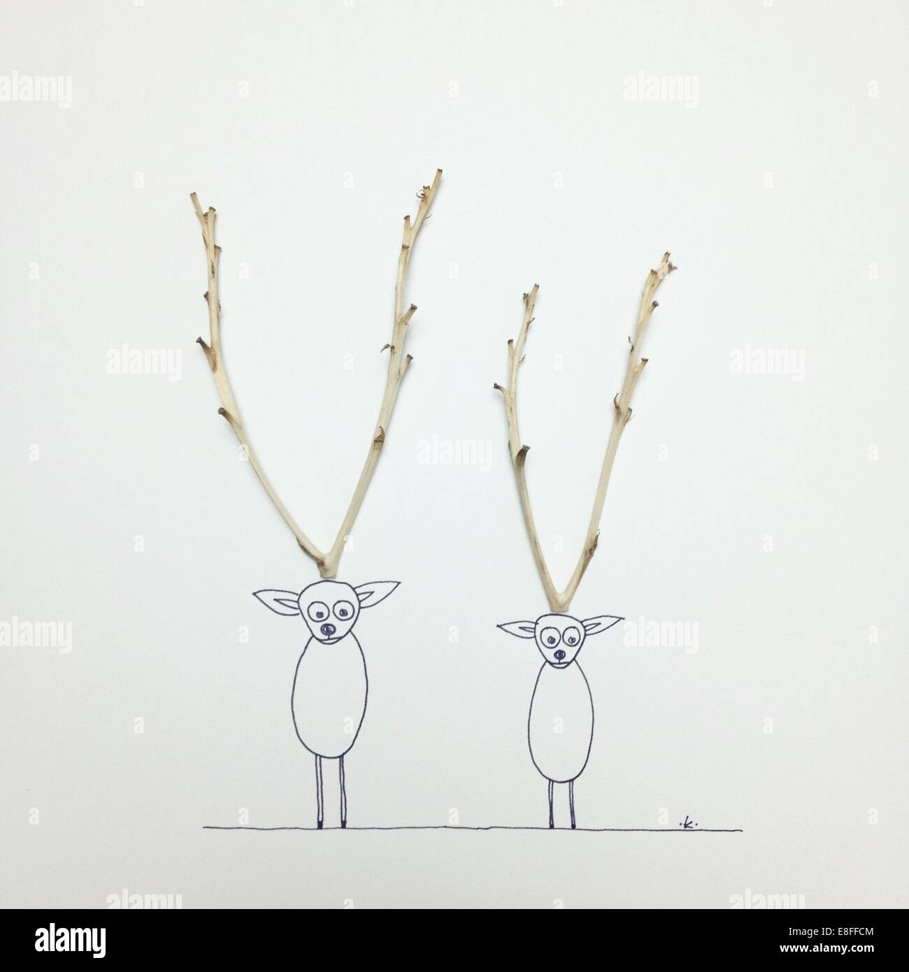 Two Conceptual reindeer - Stock Image