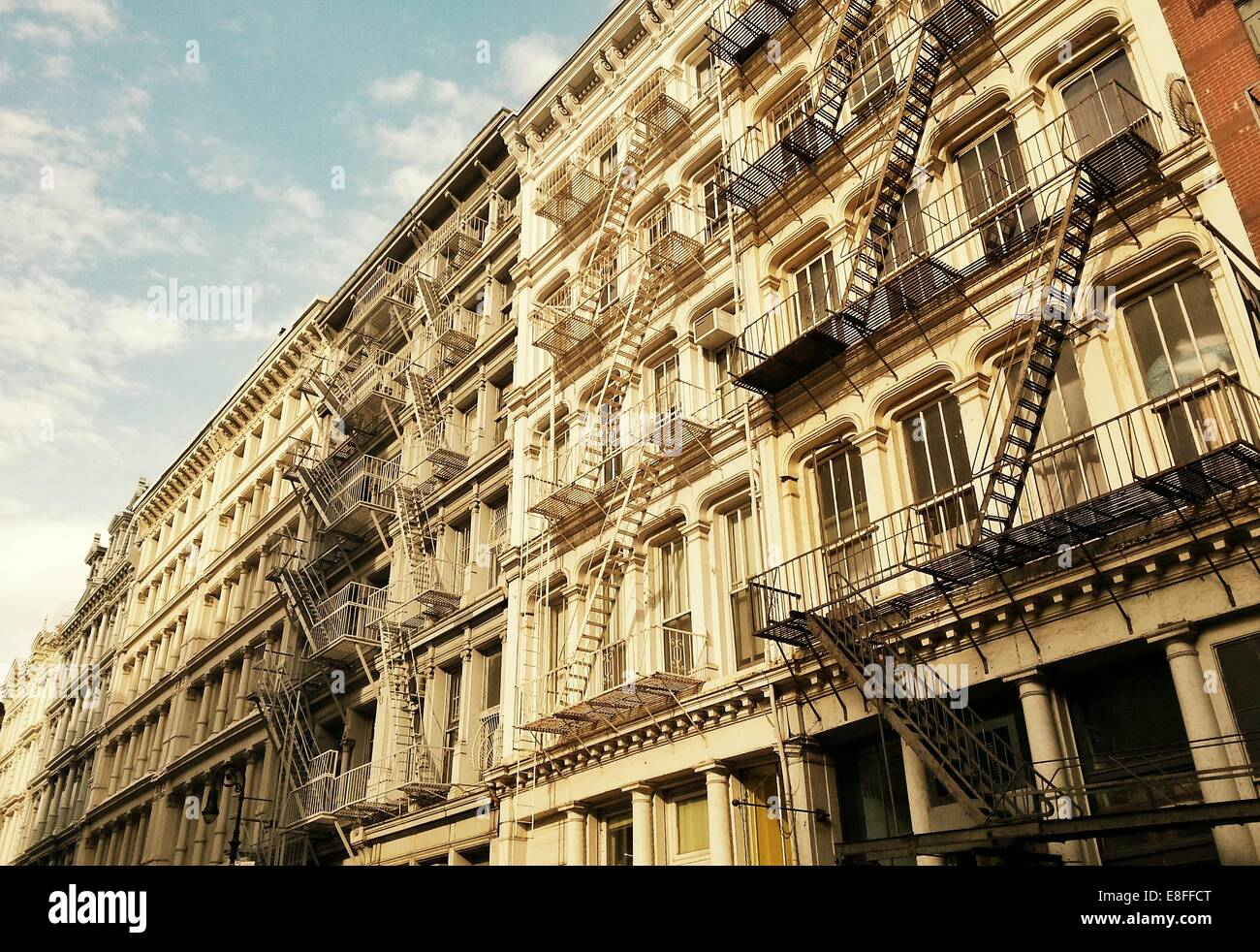 USA, New York State, New York City, Fire escapes on building - Stock Image