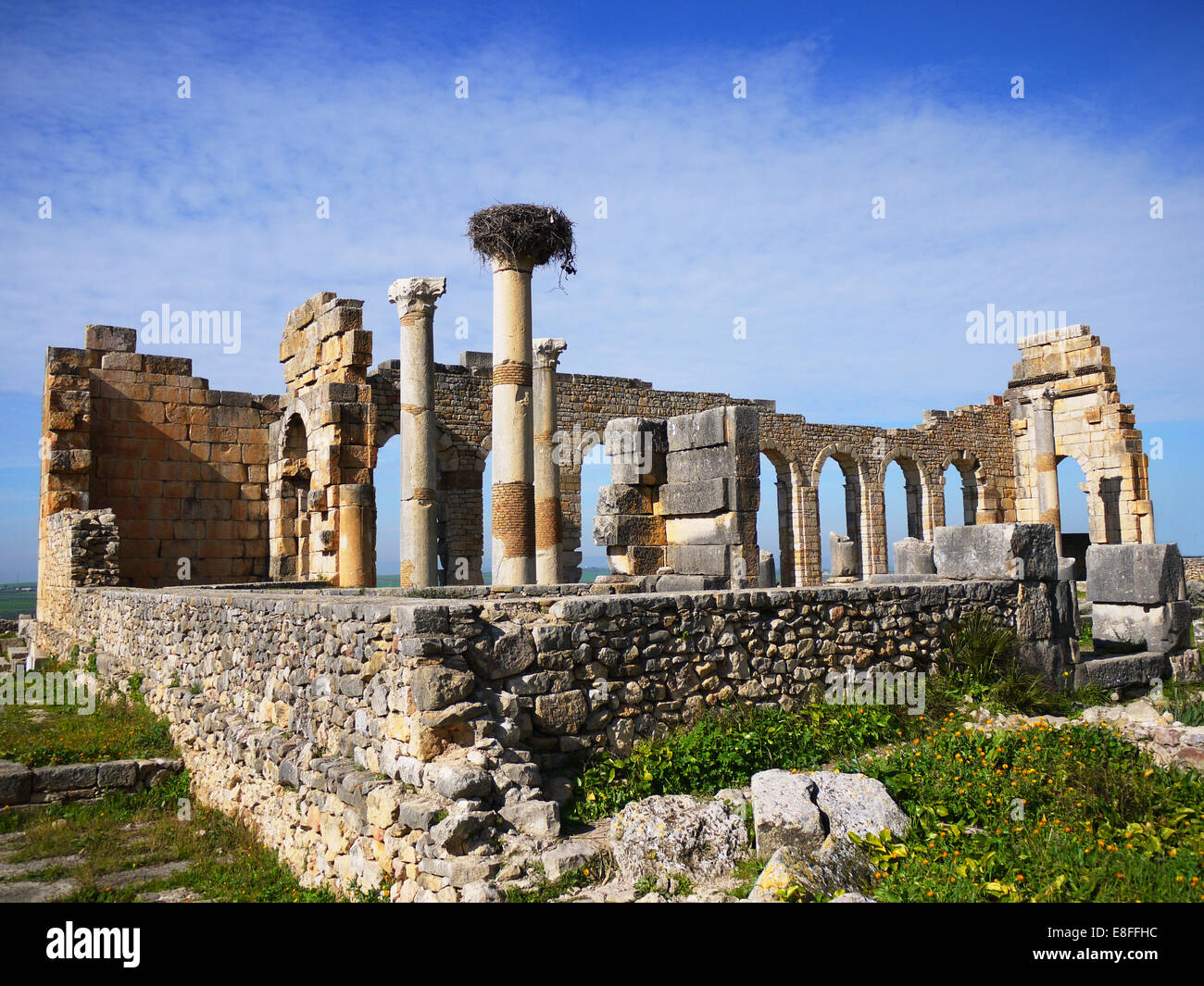 Morocco, Volubilis, Moulay Idriss, Old ruins of ancient Roman town - Stock Image