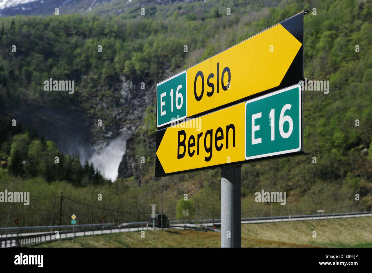 Bergen and Oslo road signs, Norway - Stock Image