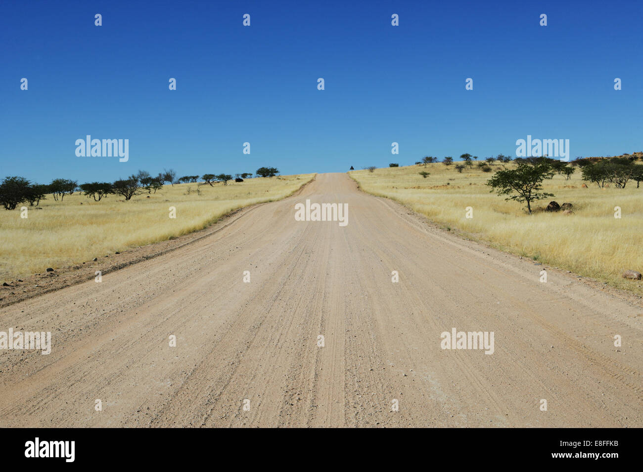 Empty road through desert, Namibia - Stock Image