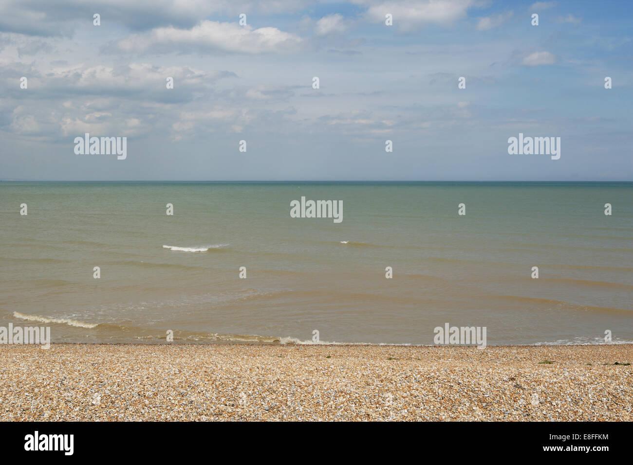 Shingle beach, Dungeness, Kent, England, UK - Stock Image