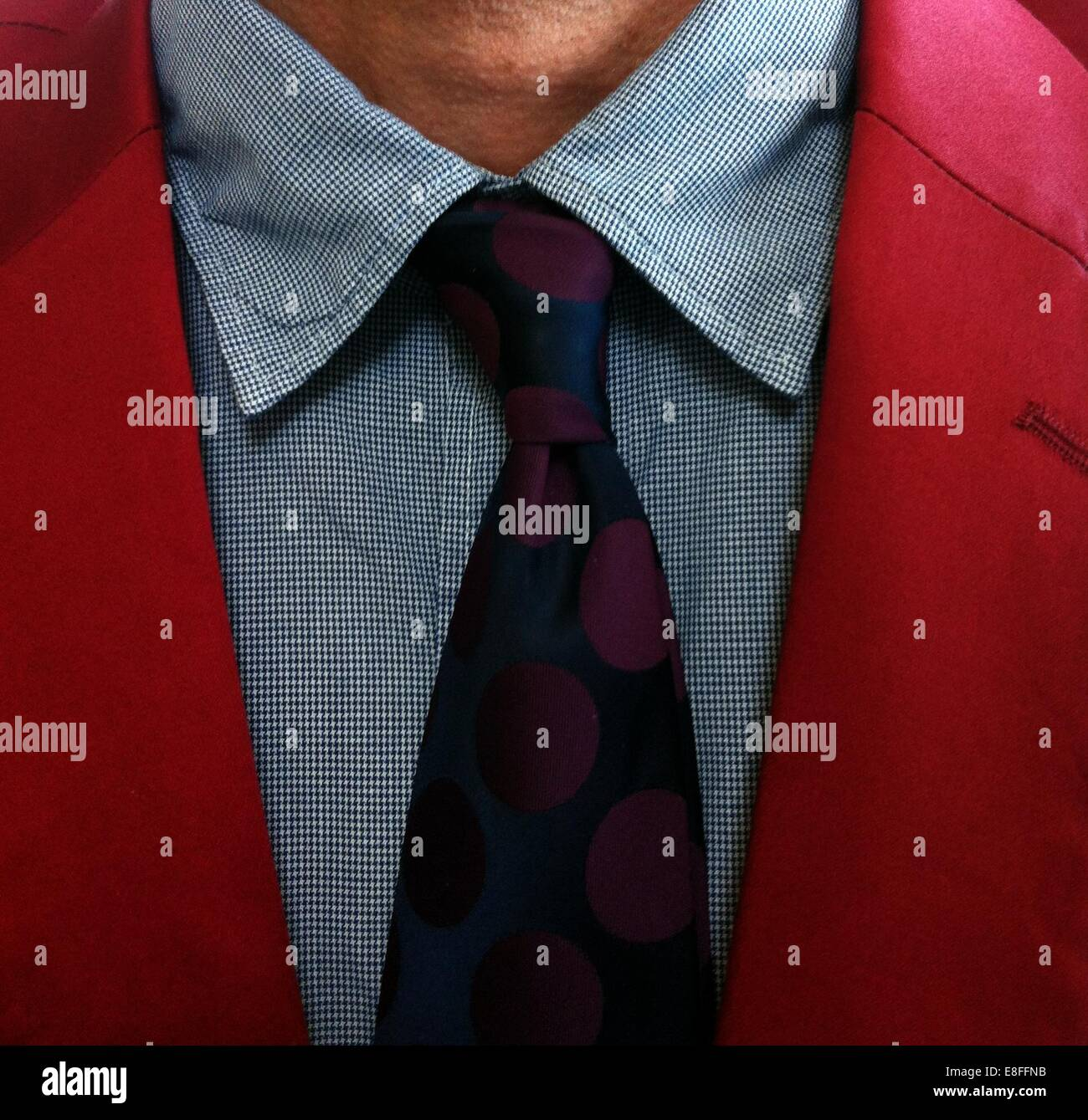 Close up of tie around man's neck - Stock Image