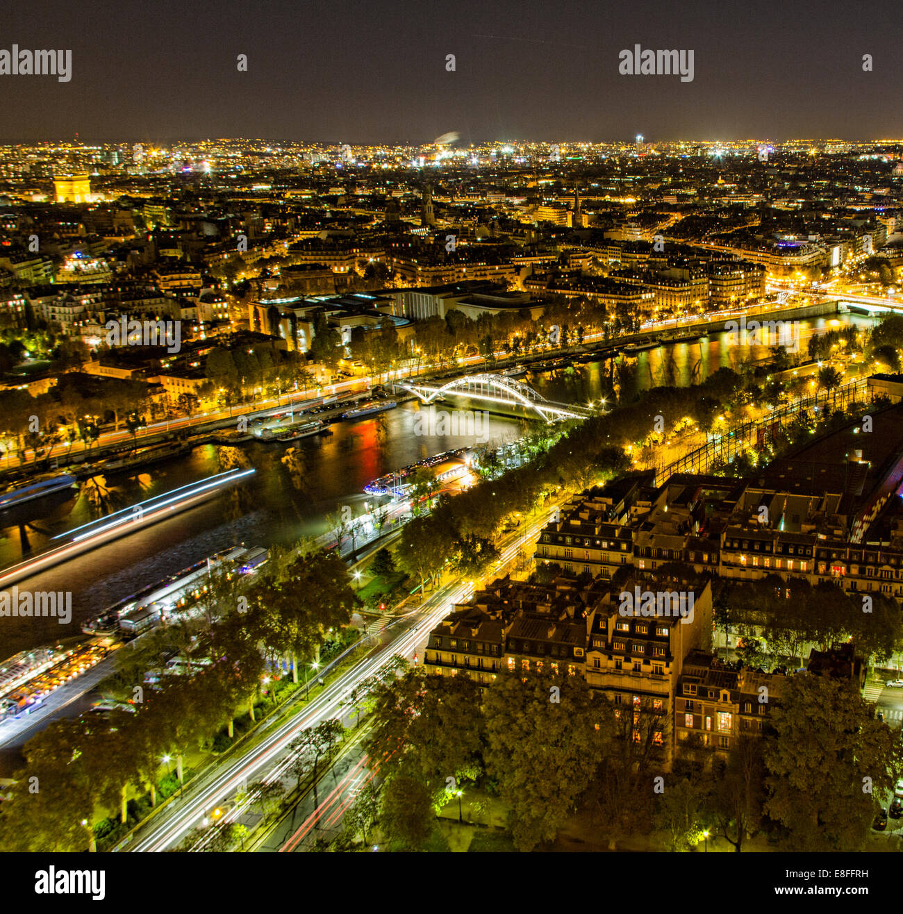 France, Paris, Aerial view of city at night - Stock Image