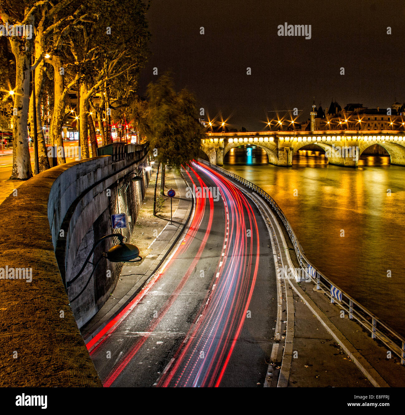 France, Paris, Riverbank by Seine river - Stock Image