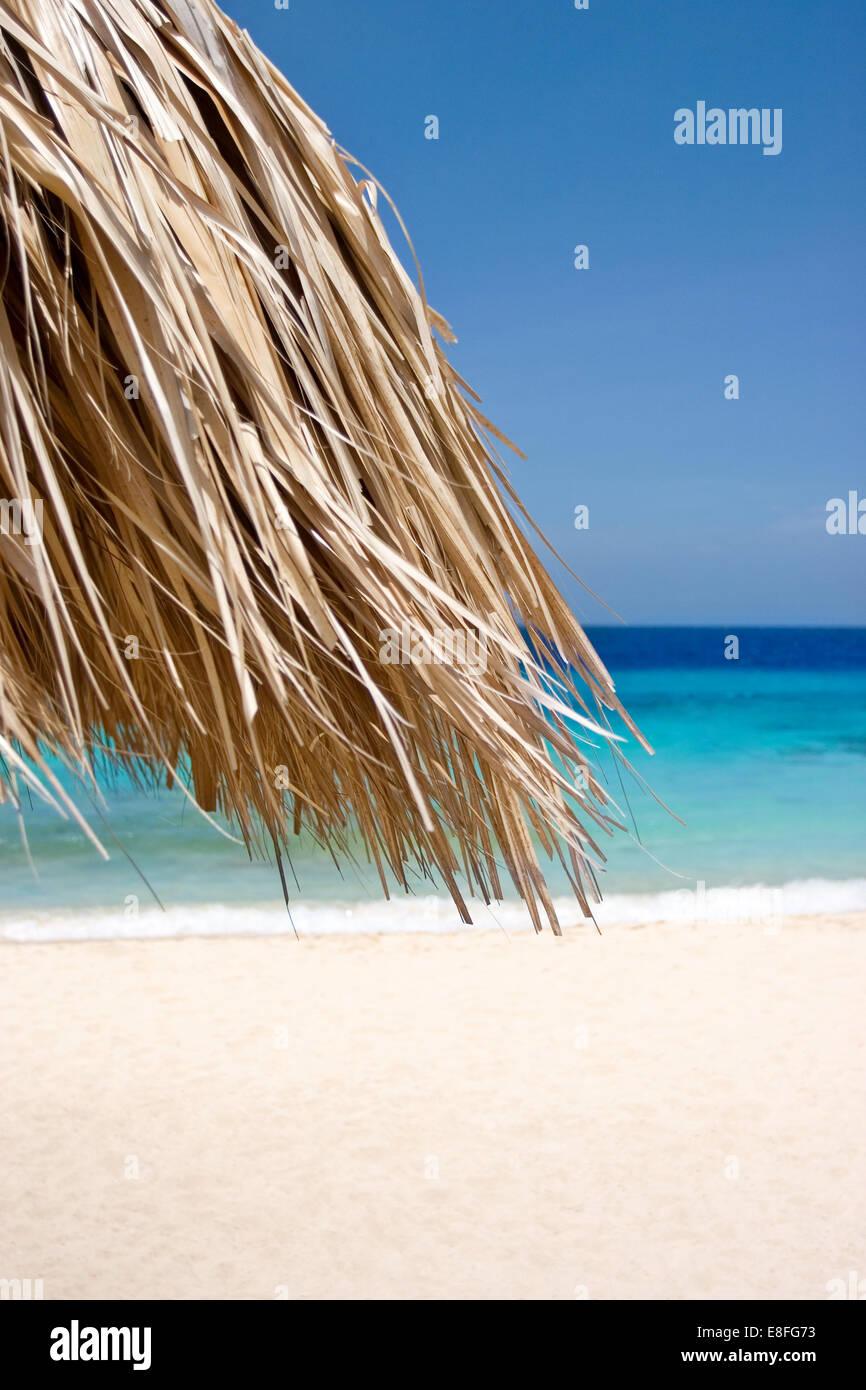 Straw umbrella on tropical beach - Stock Image