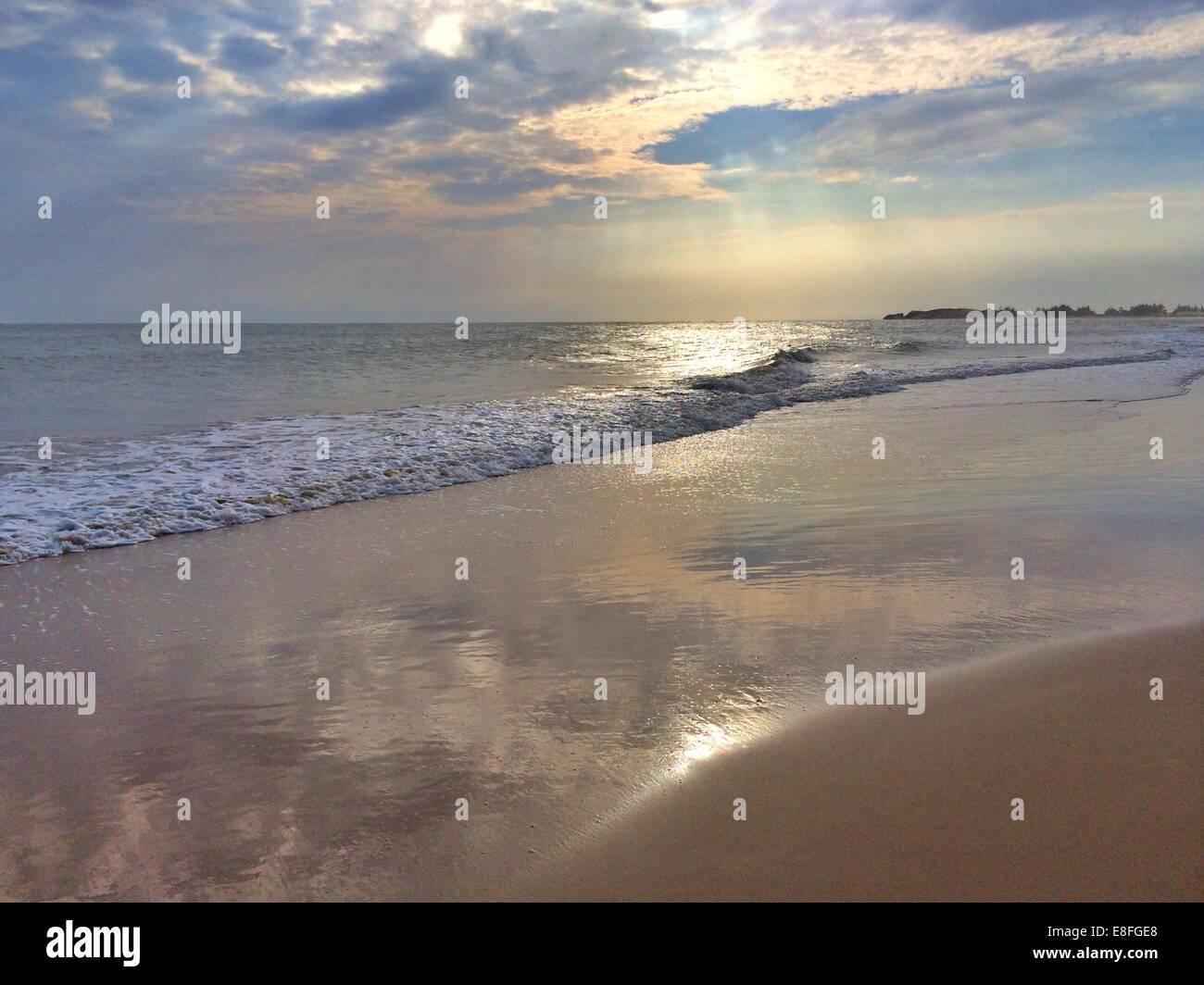 Empty beach at sunrise, Phan Thiet, Vietnam - Stock Image
