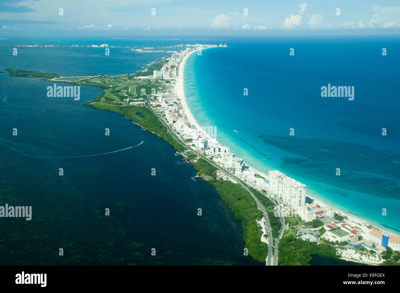 Aerial view of Cancun, Mexico - Stock Image