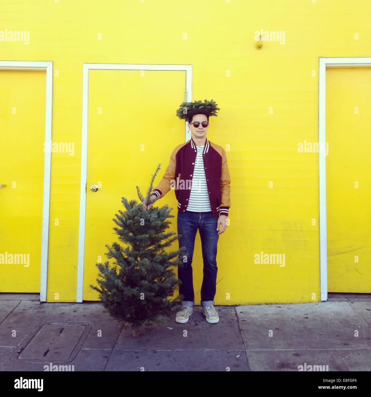 Man with a Christmas tree - Stock Image
