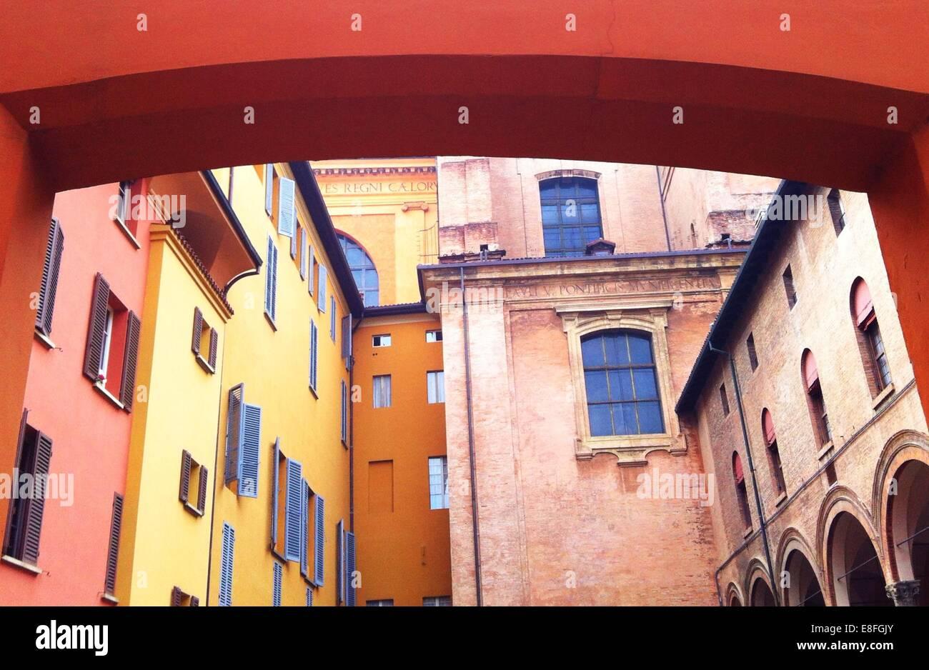 Multi-colored buildings, Bologna, Italy - Stock Image