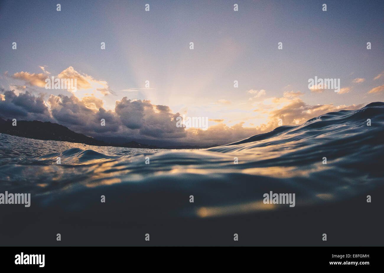 Water surface of ocean at sunset, Hawaii, America, USA - Stock Image