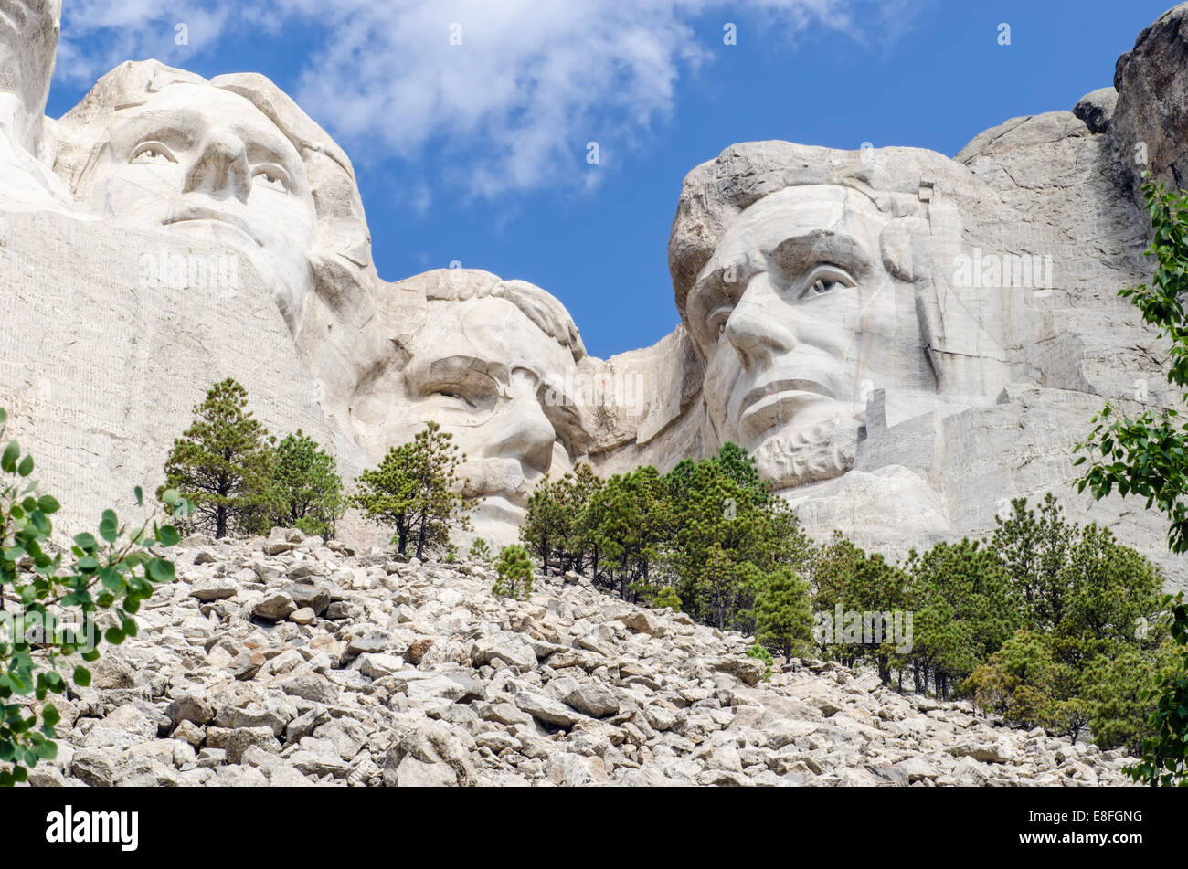 USA, South Dakota, Mount Rushmore, View of Mt Rushmore National Monument - Stock Image