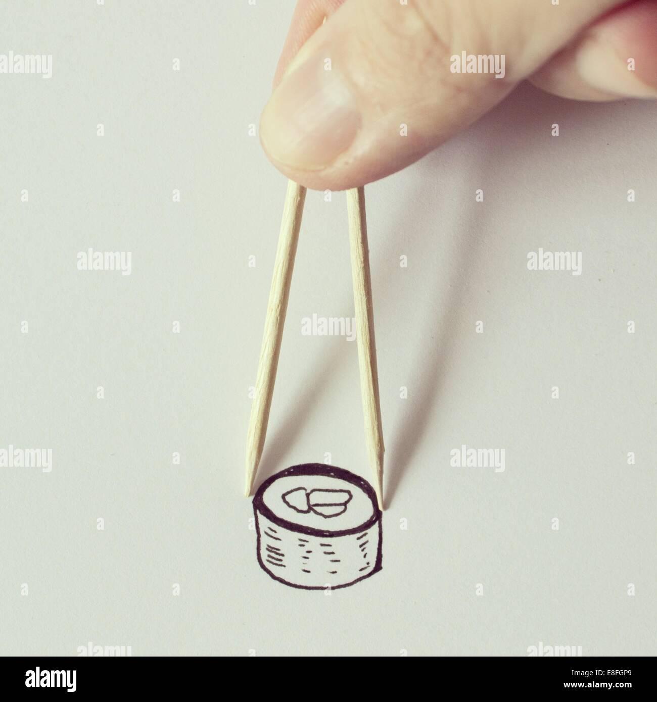Illustration of sushi and chopsticks - Stock Image