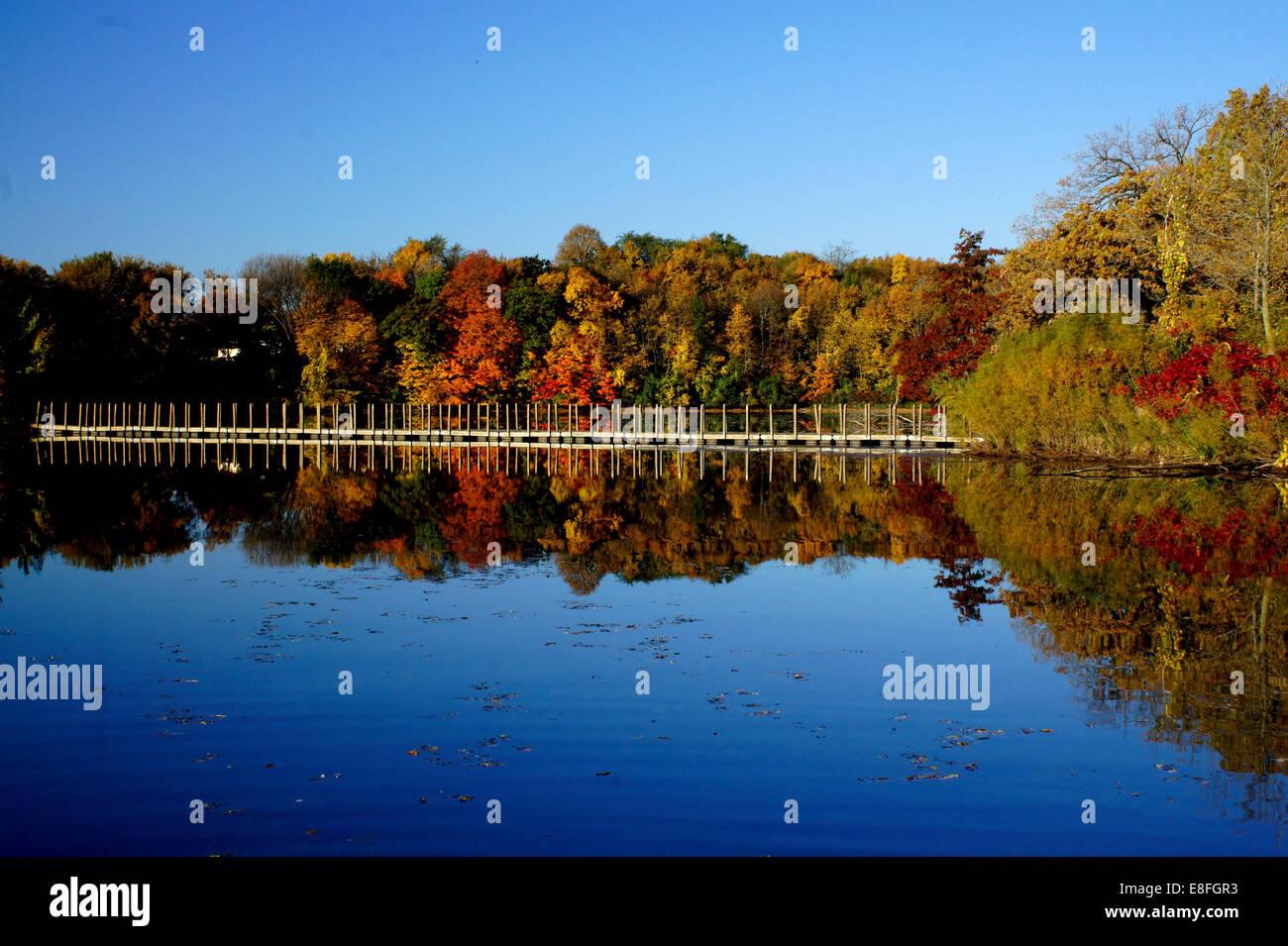 USA, Minnesota, Scott County, View of Prior Lake in autumn - Stock Image