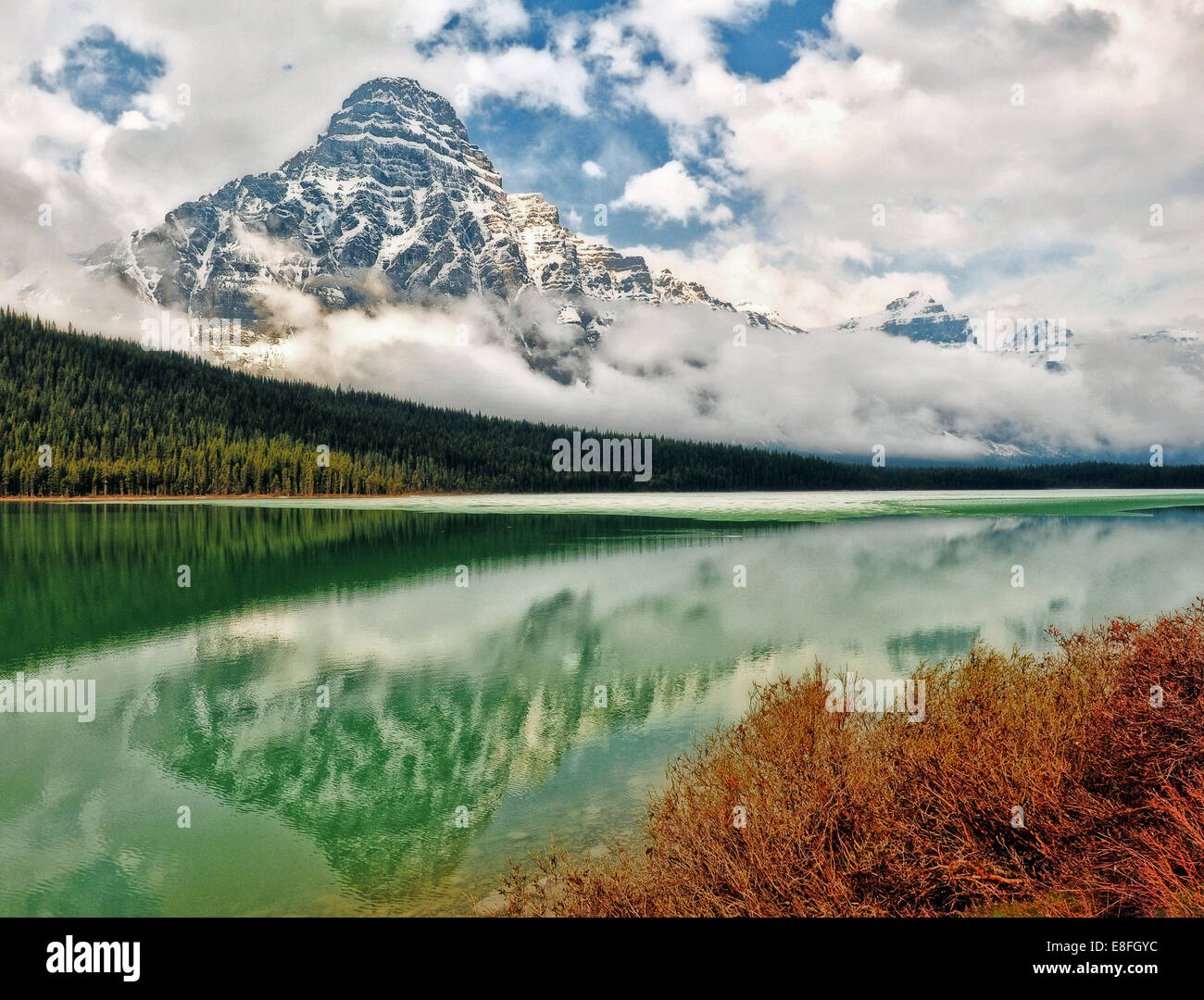 Mount Chephren reflected in Waterfowl Lake, Banff National Park, Alberta, Canada - Stock Image