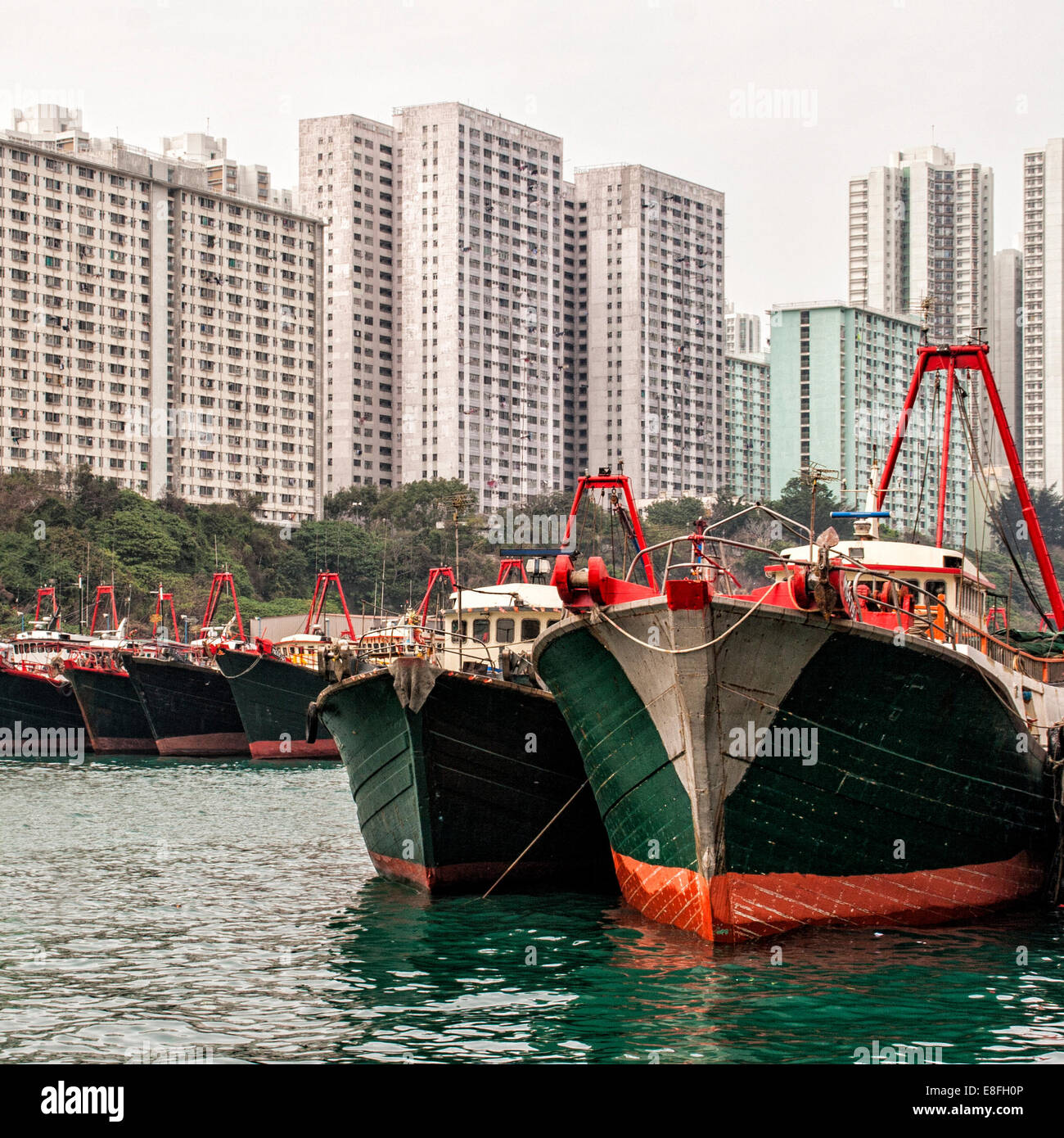 View of anchored boats - Stock Image