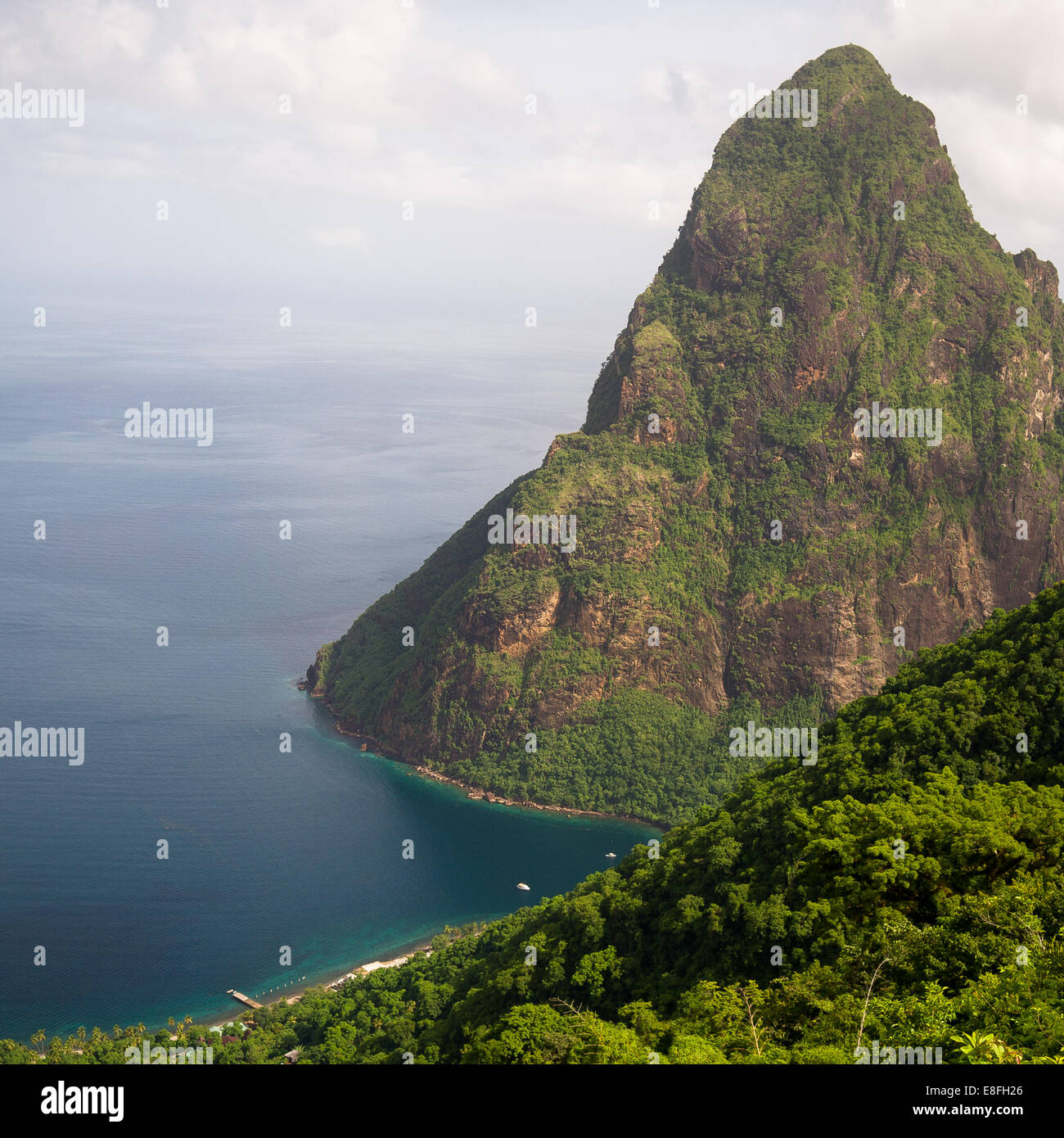 Petit Piton seen from Tete Paul hiking trail, St Lucia, Caribbean - Stock Image