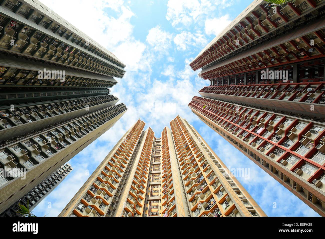 China, Hong Kong, Towering Flats, Low angle view - Stock Image