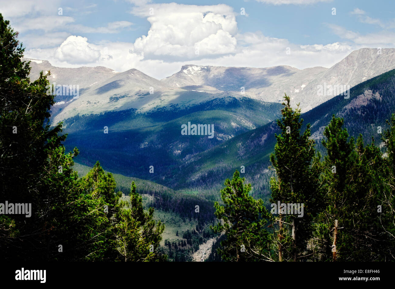 USA, Rocky Mountains with shadows from clouds - Stock Image