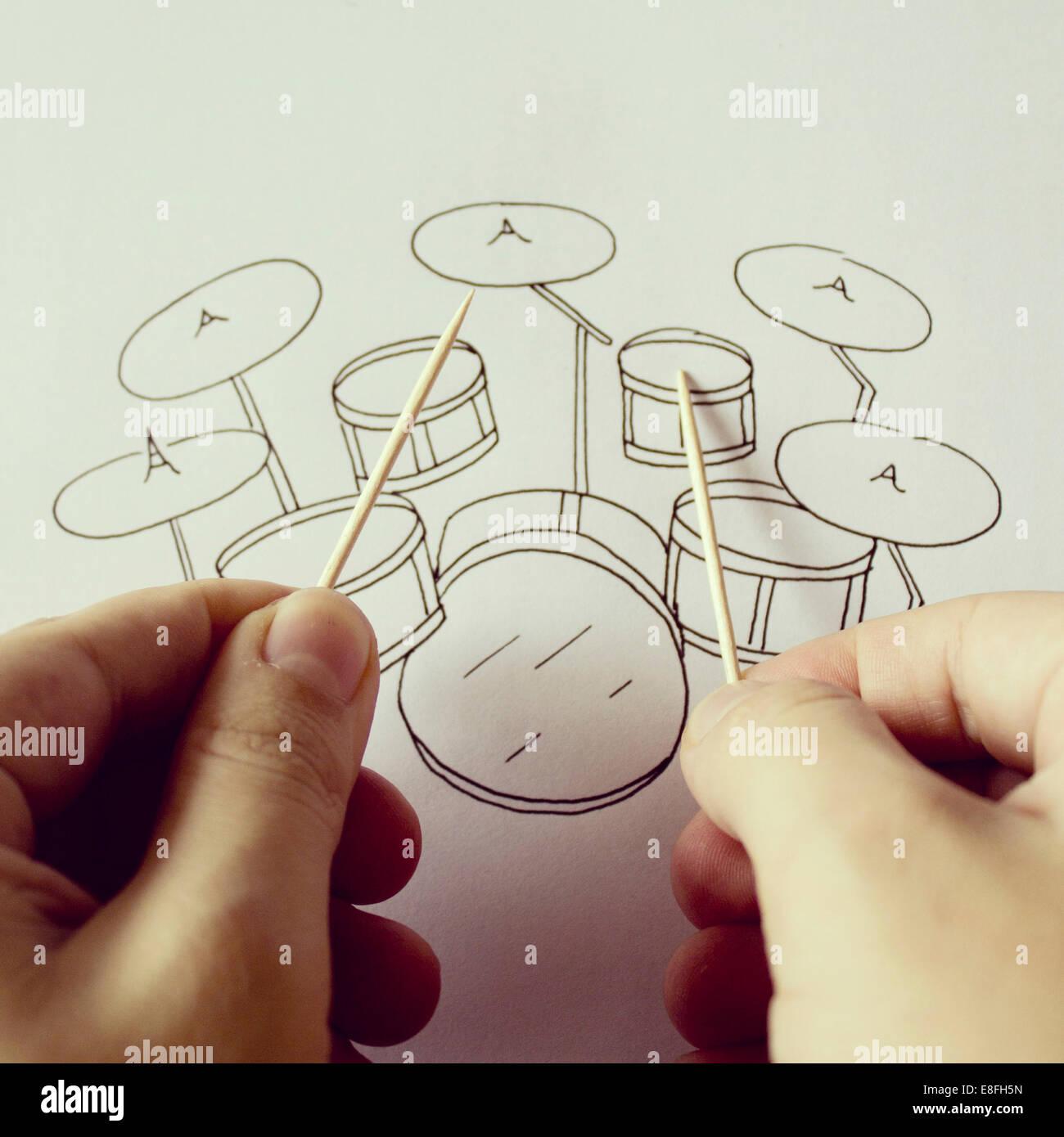 Studio shot of conceptual drum kit - Stock Image