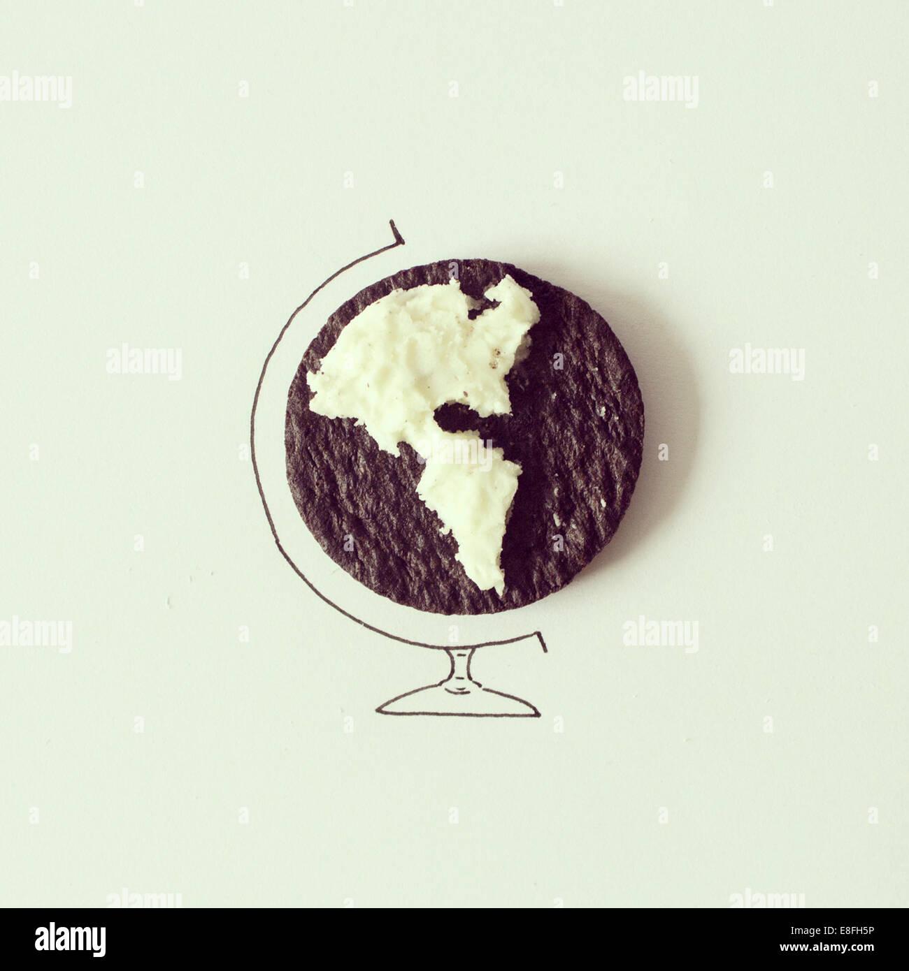 Studio shot of conceptual world globe - Stock Image